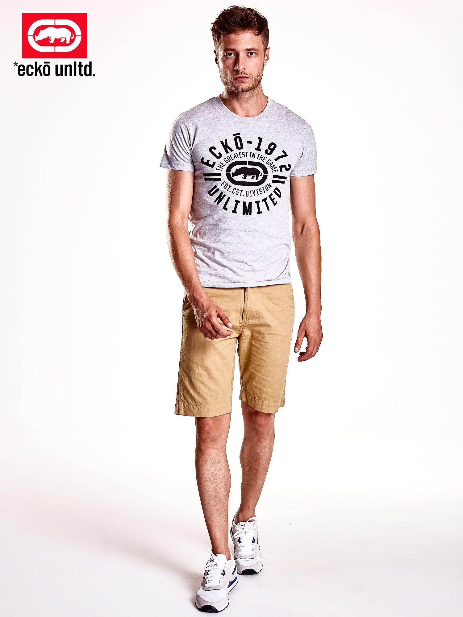 Szary t-shirt męski z czarnym logiem                                  zdj.                                  3