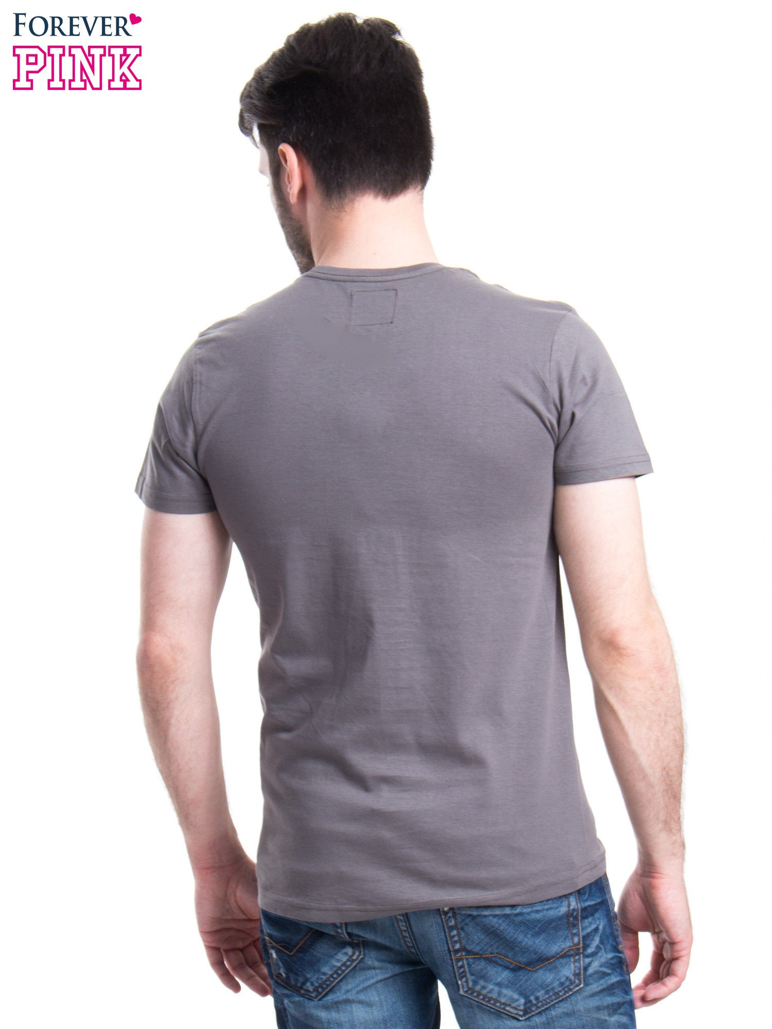 Szary t-shirt męski z nadrukiem RODEO DRIVE                                  zdj.                                  3