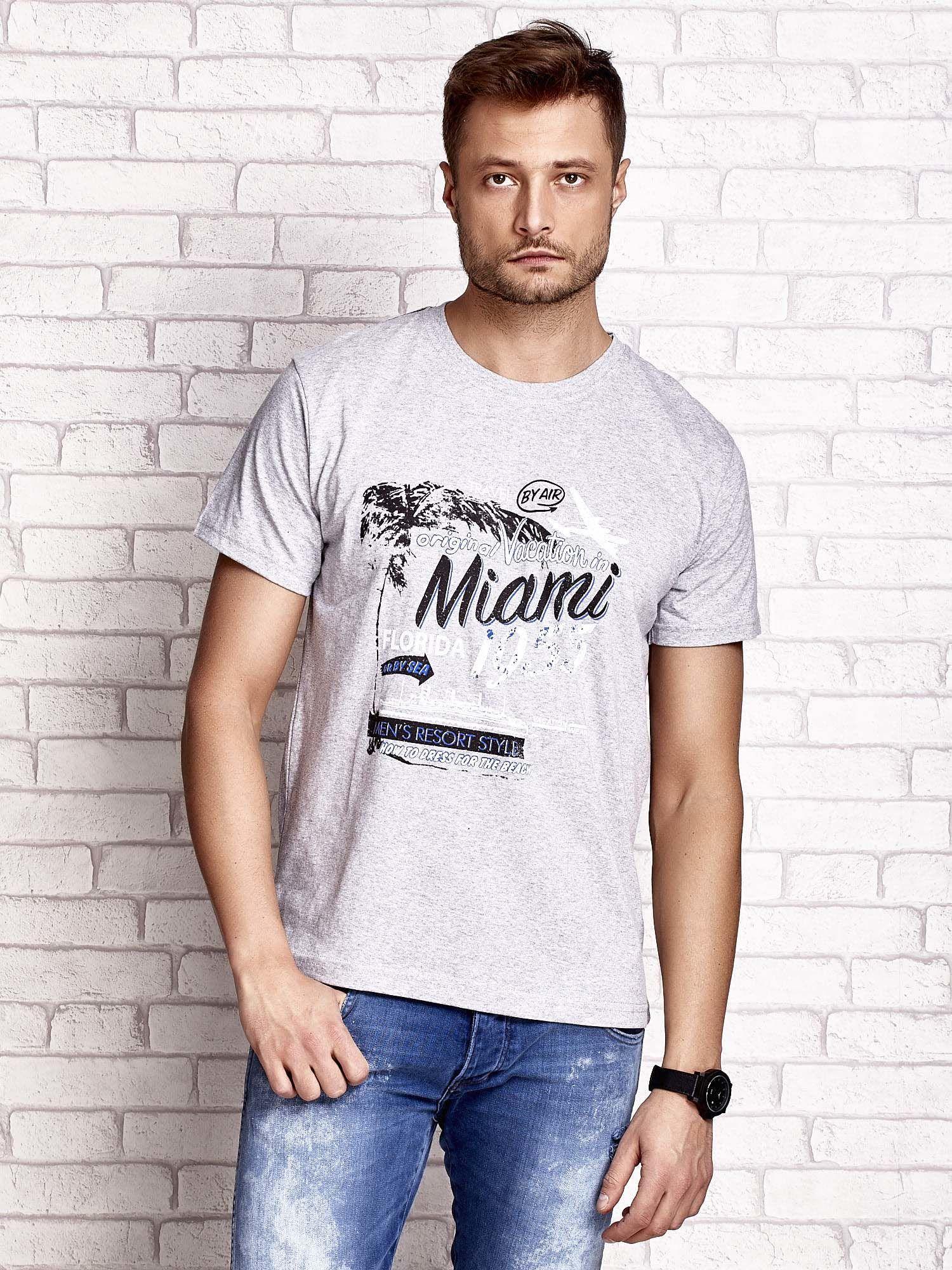 Szary t-shirt męski z nadrukiem napisów MIAMI FLORIDA 1955                                  zdj.                                  2