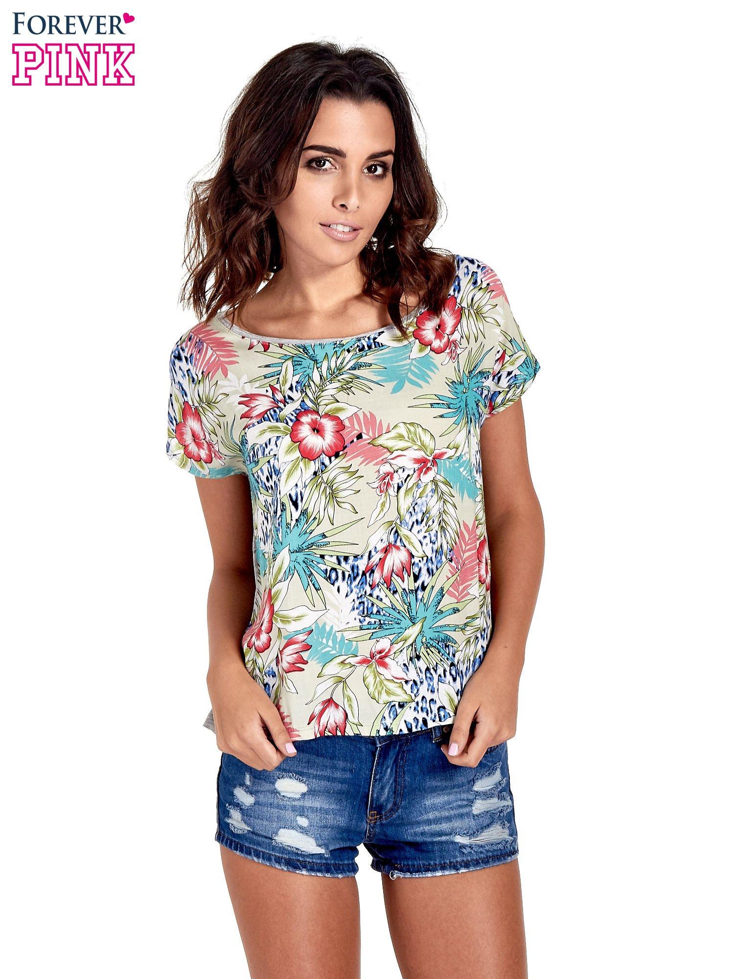 Szary t-shirt z nadrukiem floral print                                  zdj.                                  1