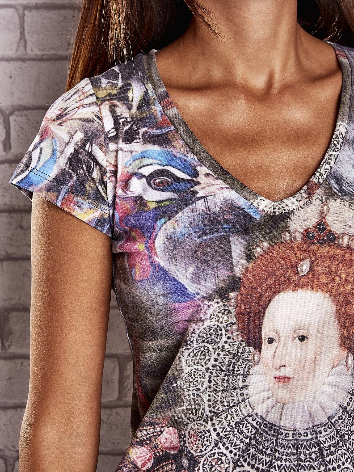 Szary t-shirt z nadrukiem graffiti i królowej                                  zdj.                                  5