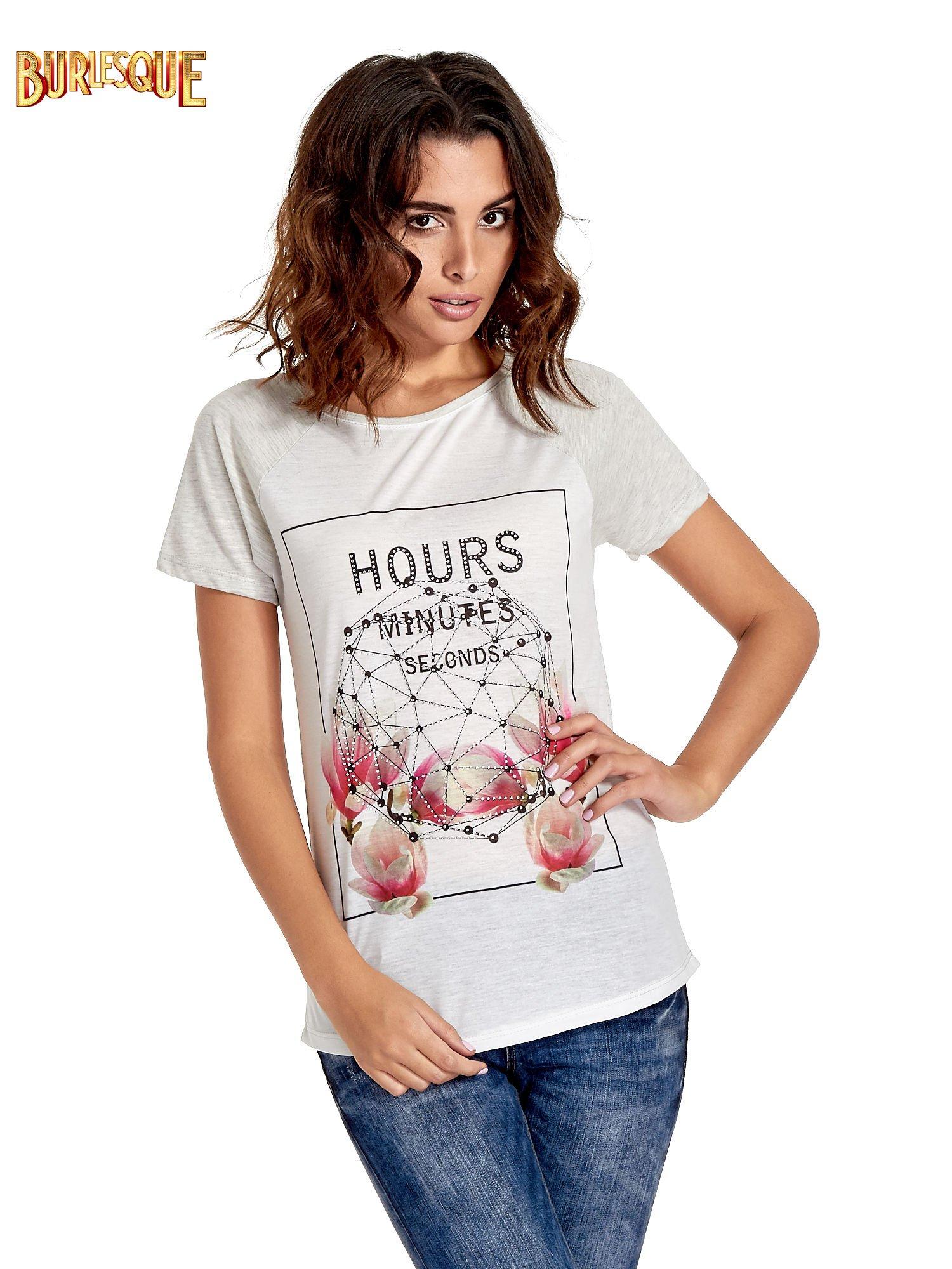 Szary t-shirt z napisem HOURS MINUTES SECONDS z dżetami                                  zdj.                                  1