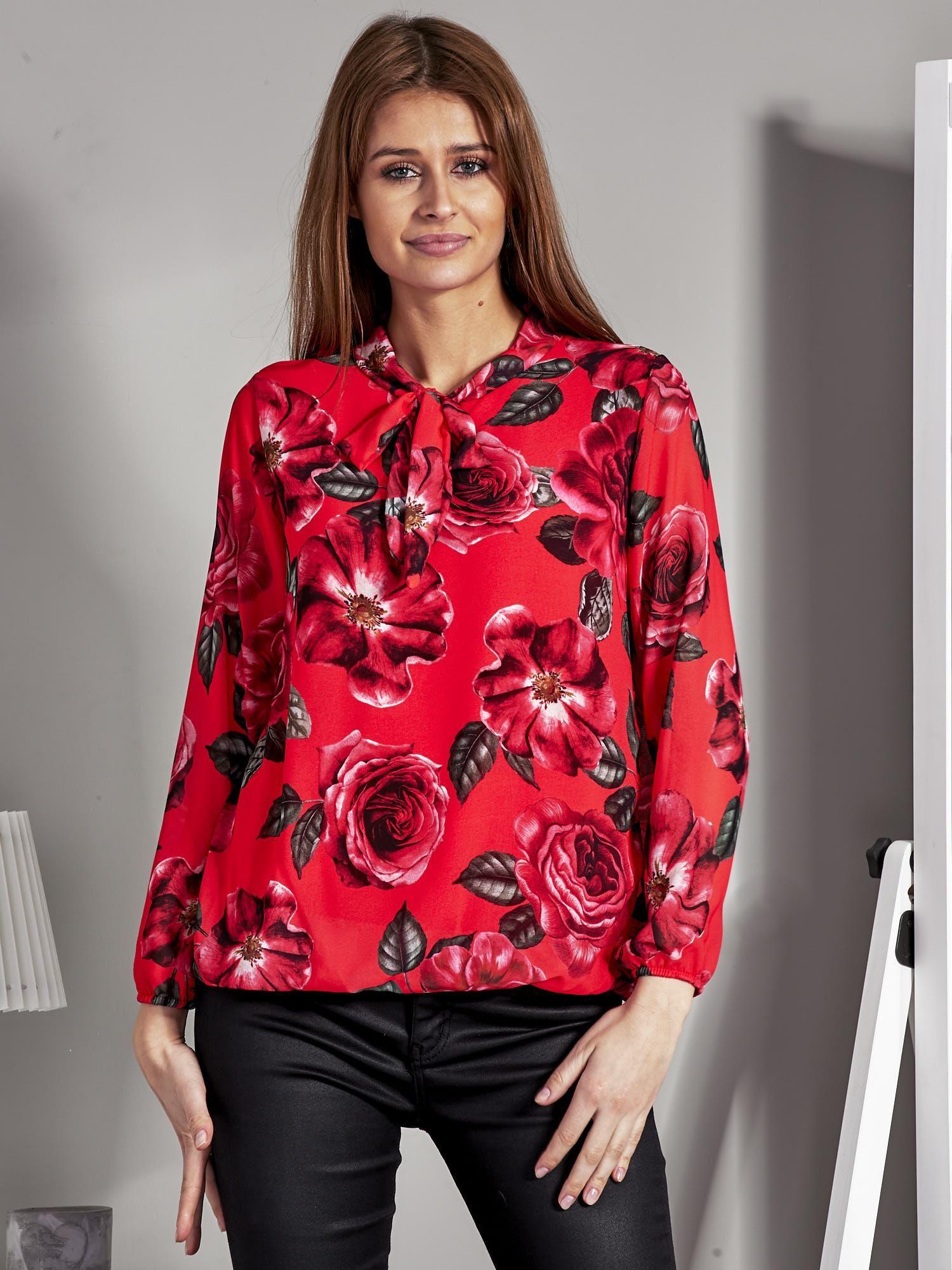 0bab22c5e9ed Szyfonowa bluzka w kwiaty z wiązaniem czerwona - Bluzka wizytowa ...