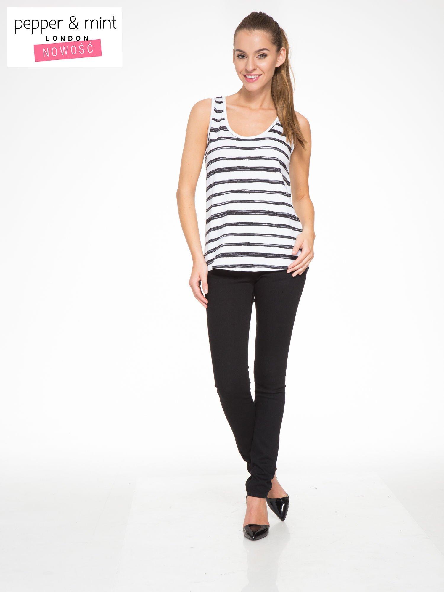 T-shirt na szerokich ramiączkach w biało-czarne paski                                  zdj.                                  5