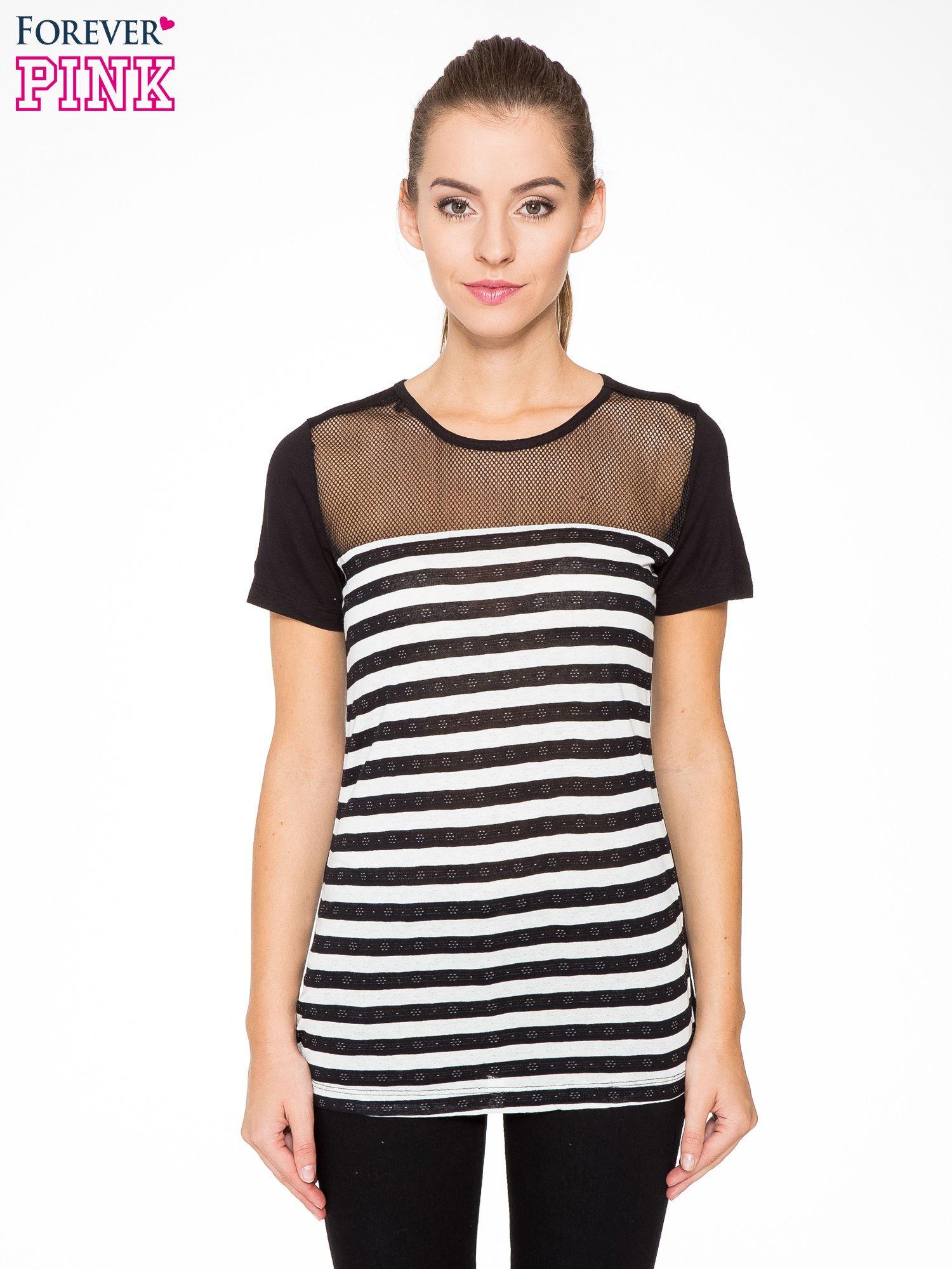 T-shirt w biało-czarne paski z siateczkową górą                                  zdj.                                  1