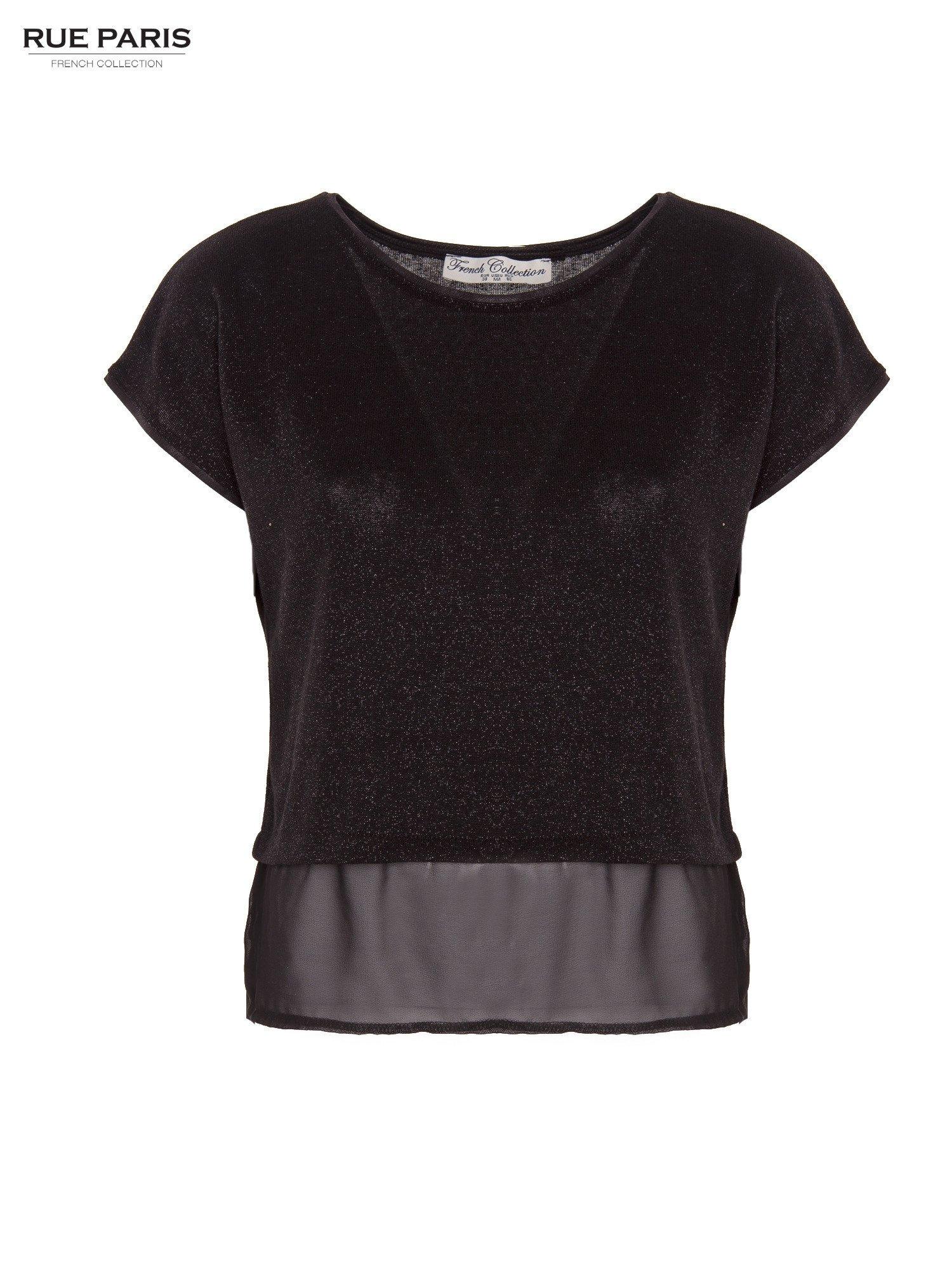 T-shirt z łączonych materiałów z dłuższym tyłem-mgiełką                                  zdj.                                  1