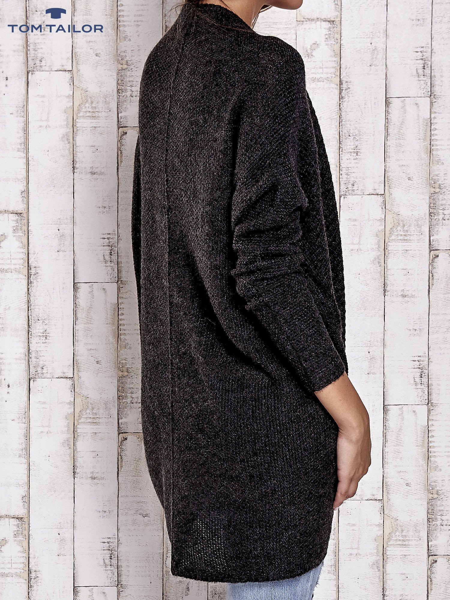 TOM TAILOR Ciemnoszary wełniany sweter oversize                                  zdj.                                  4