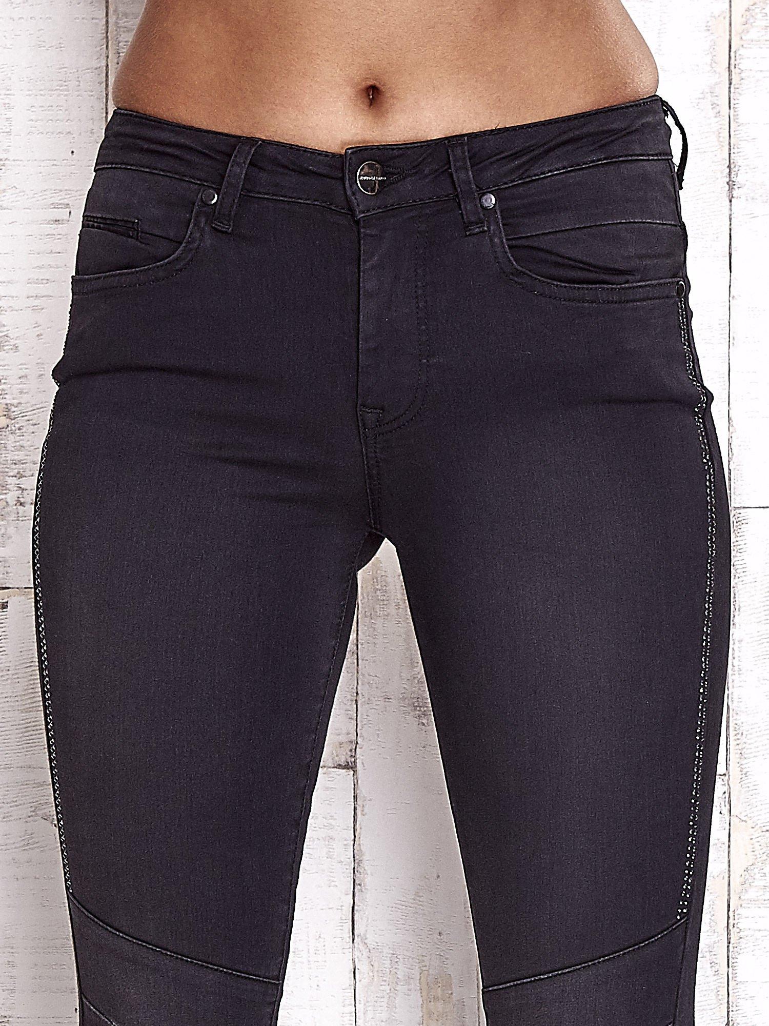 TOM TAILOR Czarne spodnie skinny jeans z dżetami                                  zdj.                                  4