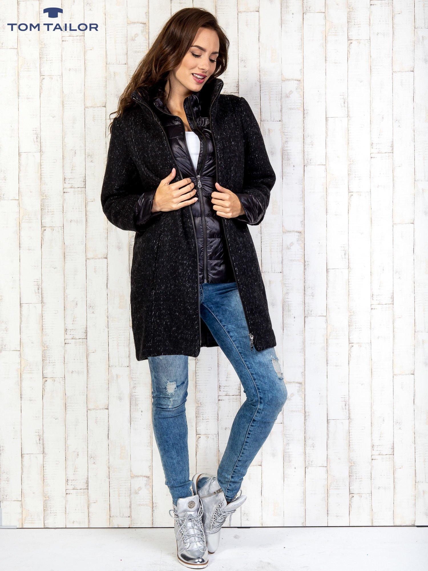 TOM TAILOR Czarny dwuczęściowy płaszcz z kurtką pikowaną                                  zdj.                                  2