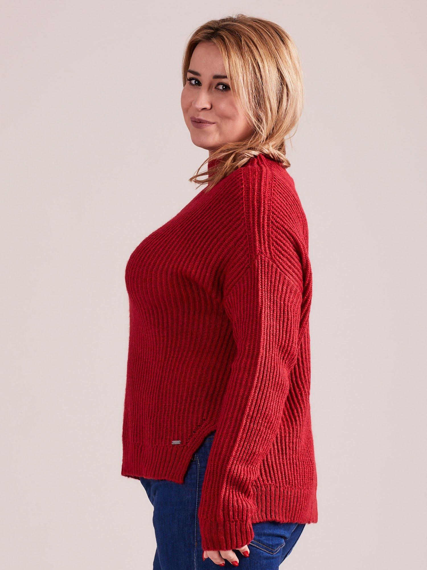 TOM TAILOR Czerwony wełniany sweter o grubszym splocie                                  zdj.                                  5