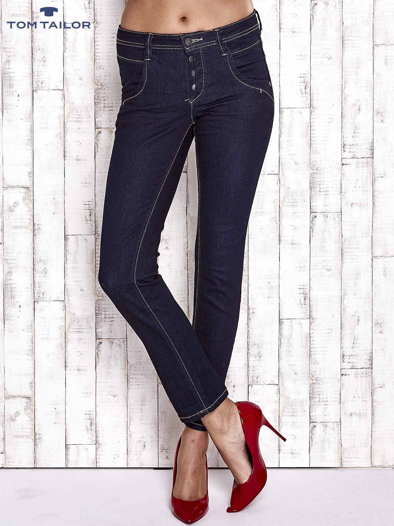 TOM TAILOR Granatowe spodnie regular jeans                                  zdj.                                  1