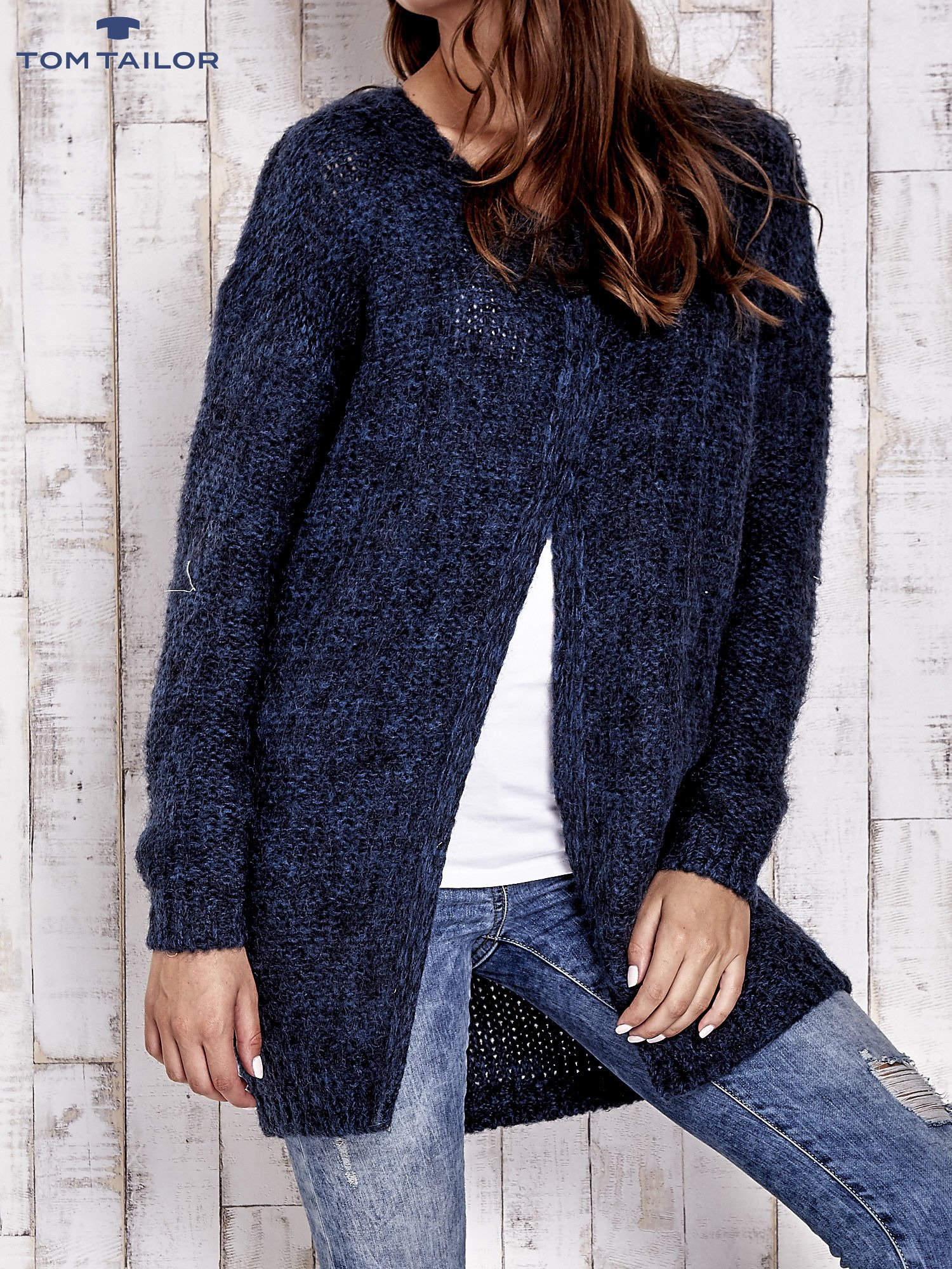 TOM TAILOR Granatowy melanżowy sweter z zapięciem na guziki                                  zdj.                                  6