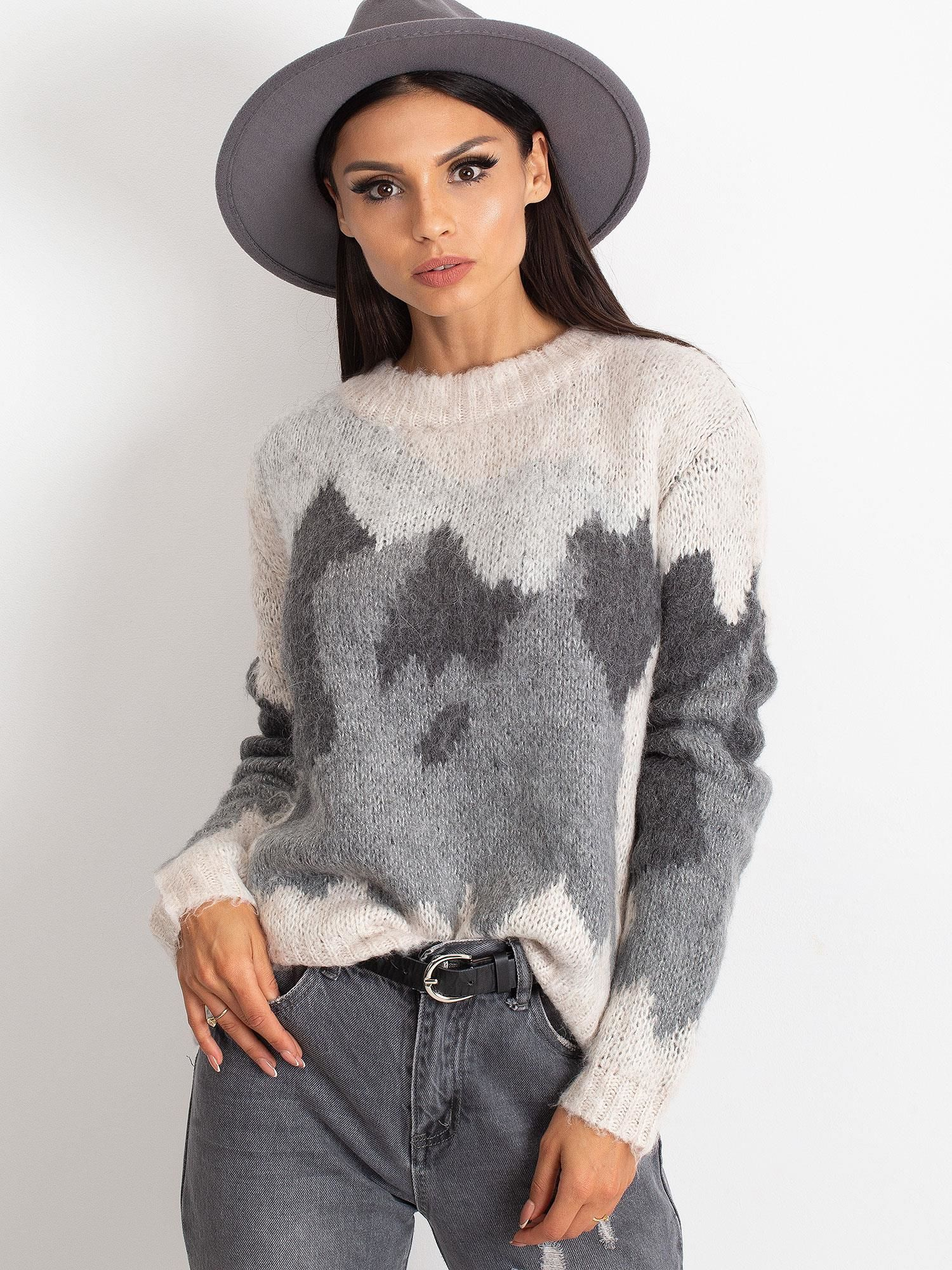 TOM TAILOR Kremowy wełniany sweter z abstrakcyjnym deseniem                                  zdj.                                  2