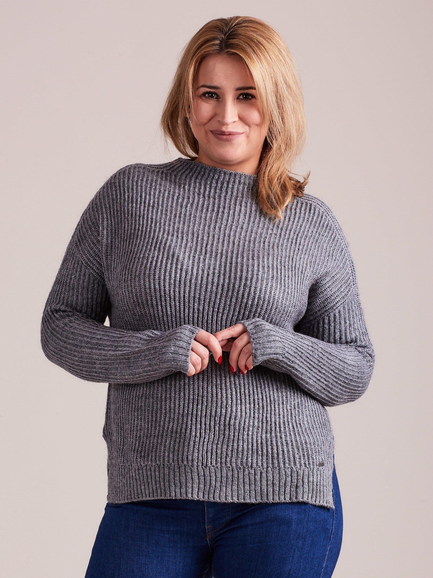 TOM TAILOR Szary wełniany sweter o grubszym splocie                                  zdj.                                  2
