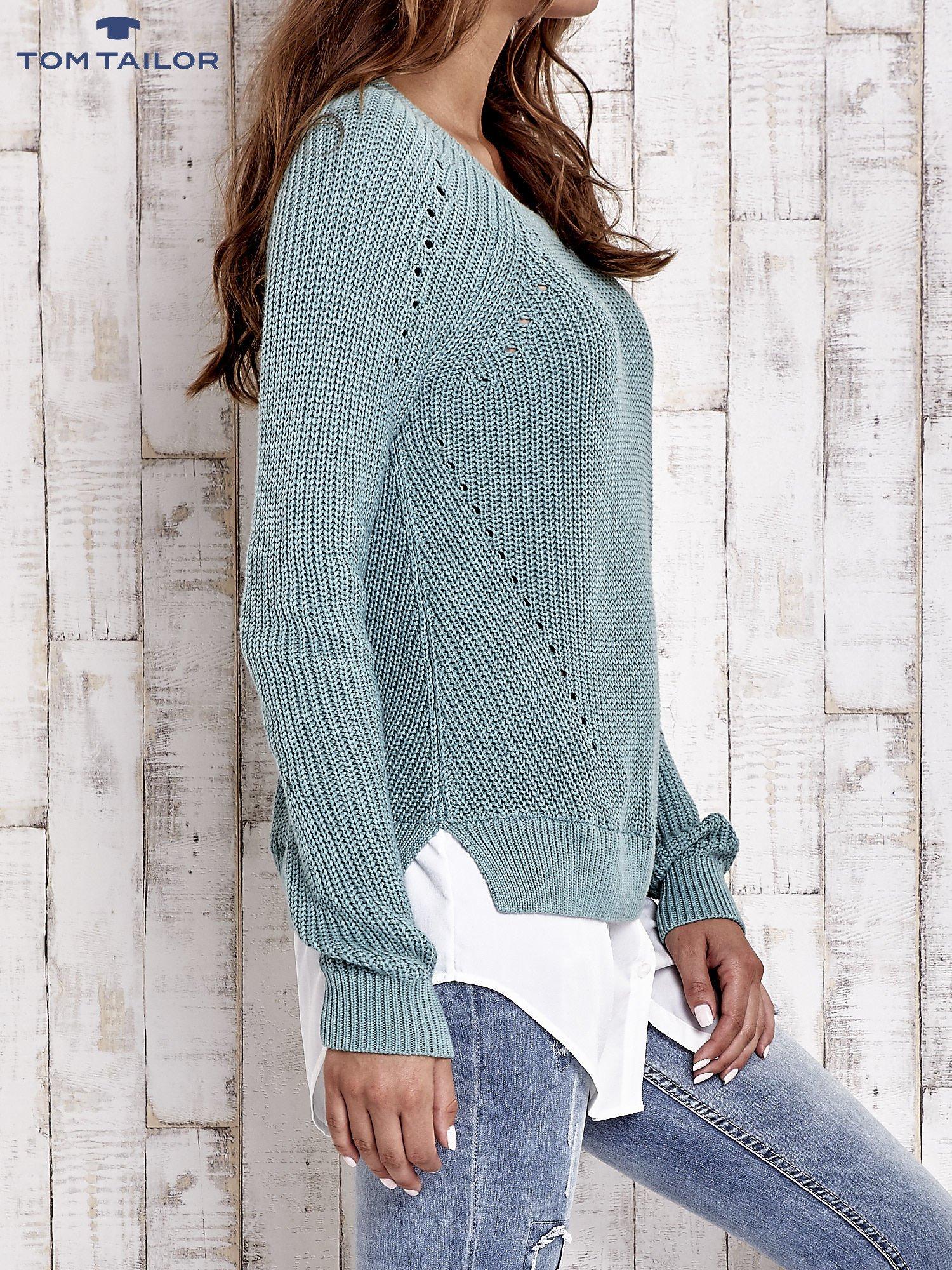 TOM TAILOR Zielony sweter z koszulą                                  zdj.                                  4