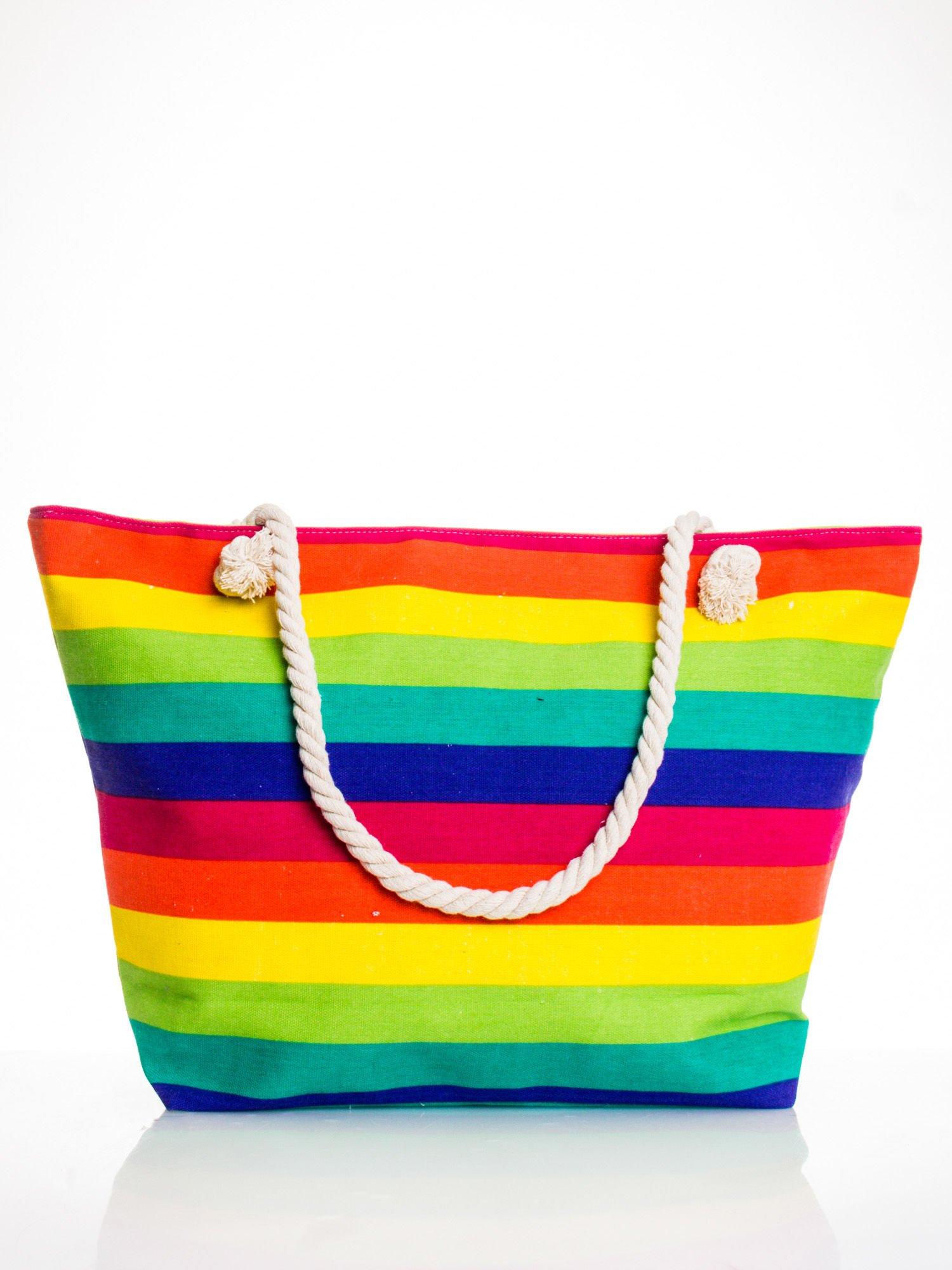 Tęczowa torba plażowa w pasy                                  zdj.                                  1