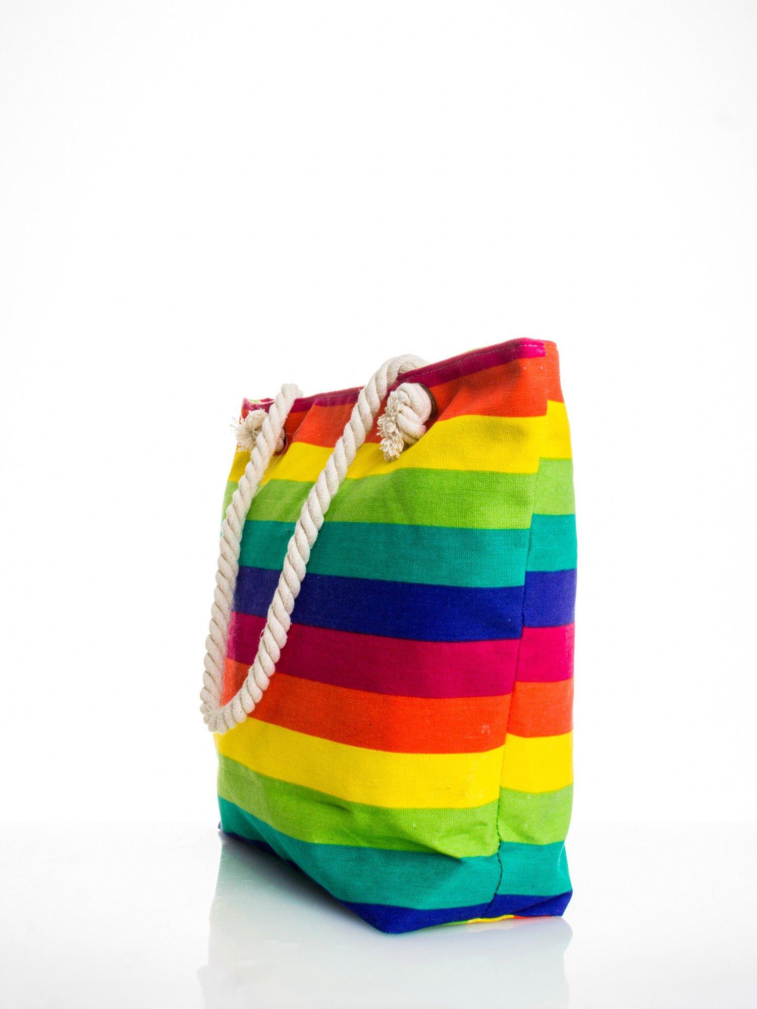 Tęczowa torba plażowa w pasy                                  zdj.                                  4