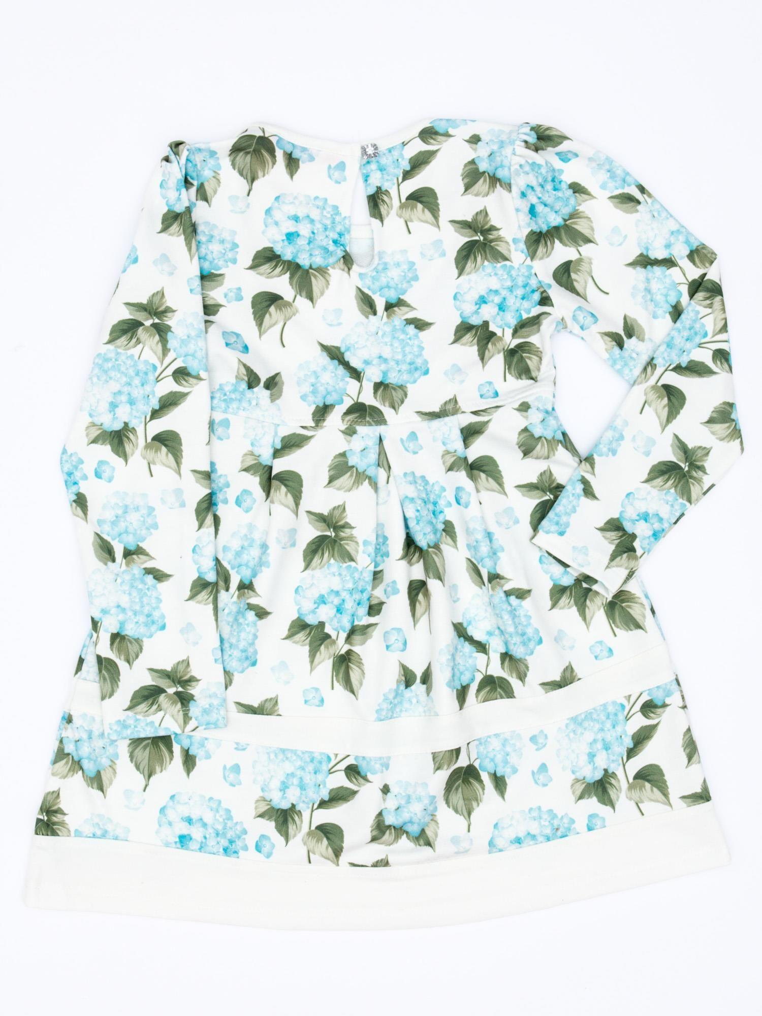 8e3f102d69c7ab Turkusowa sukienka dla dziewczynki w kwiaty z tiulową aplikacją - Dziecko  Dziewczynka - sklep eButik.pl