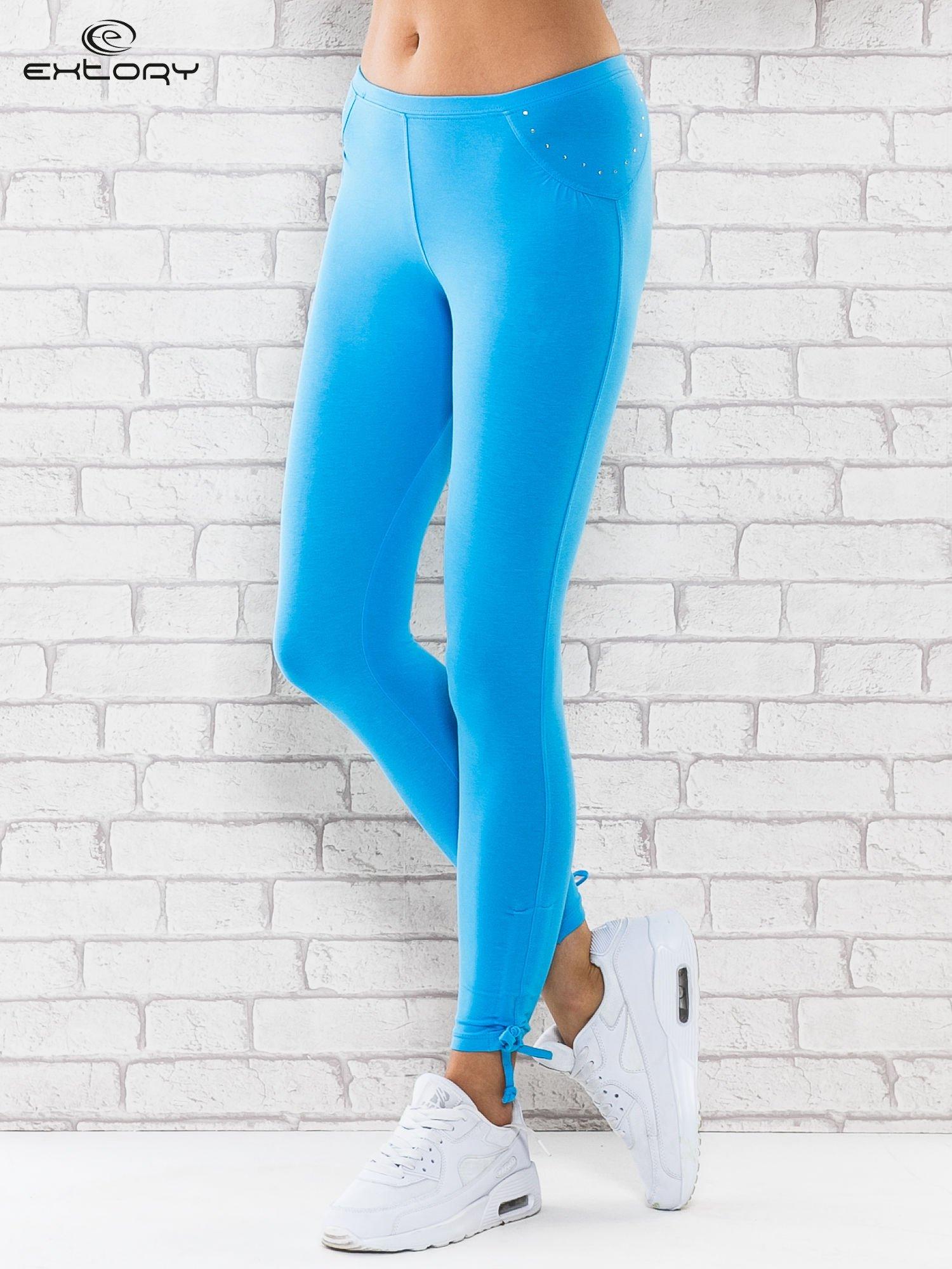 e3c61850a0b7cc Turkusowe legginsy sportowe 7/8 z wiązaniem - Spodnie legginsy - sklep  eButik.pl