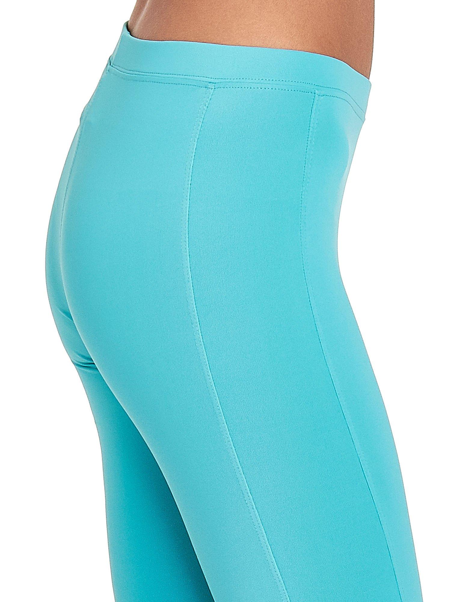 Turkusowe legginsy sportowe termalne z drapowaniem                                  zdj.                                  6