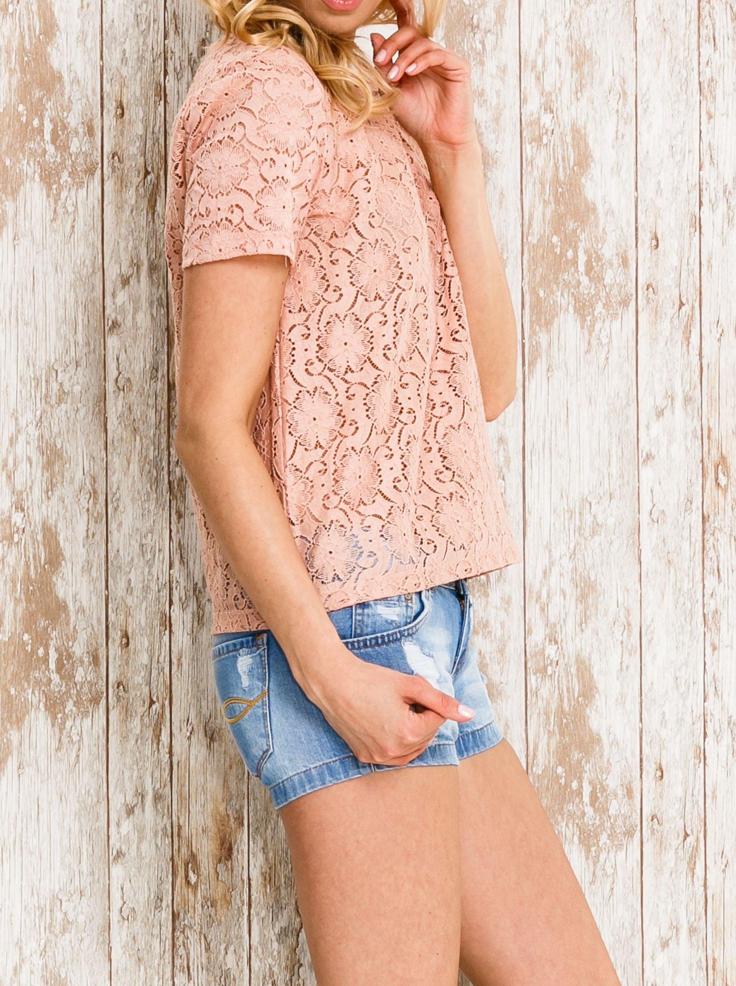 VERO MODA Różowy ażurowy t-shirt                                  zdj.                                  3