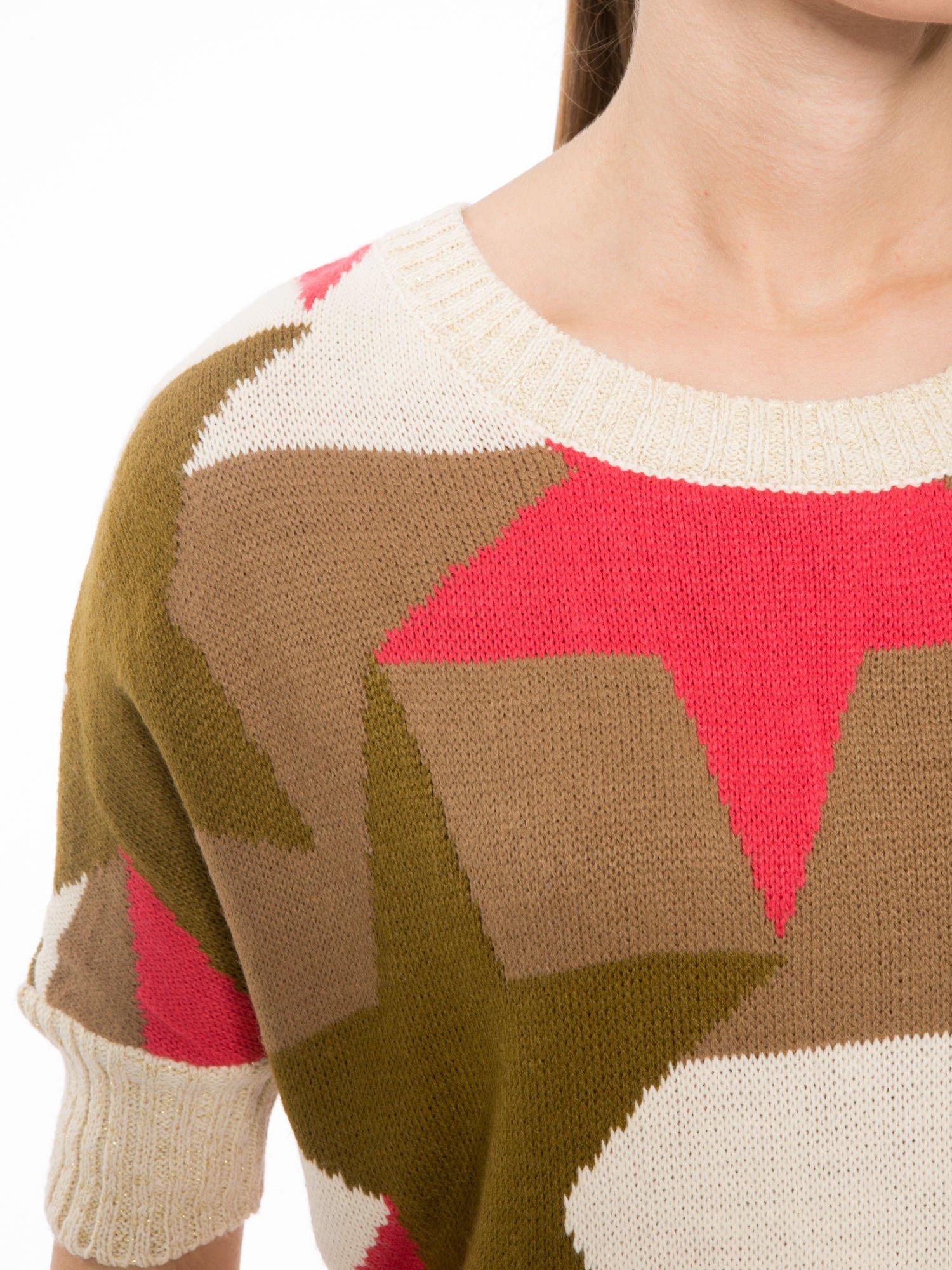 Wielokolorowy sweter z nadrukiem gwiazd                                  zdj.                                  5