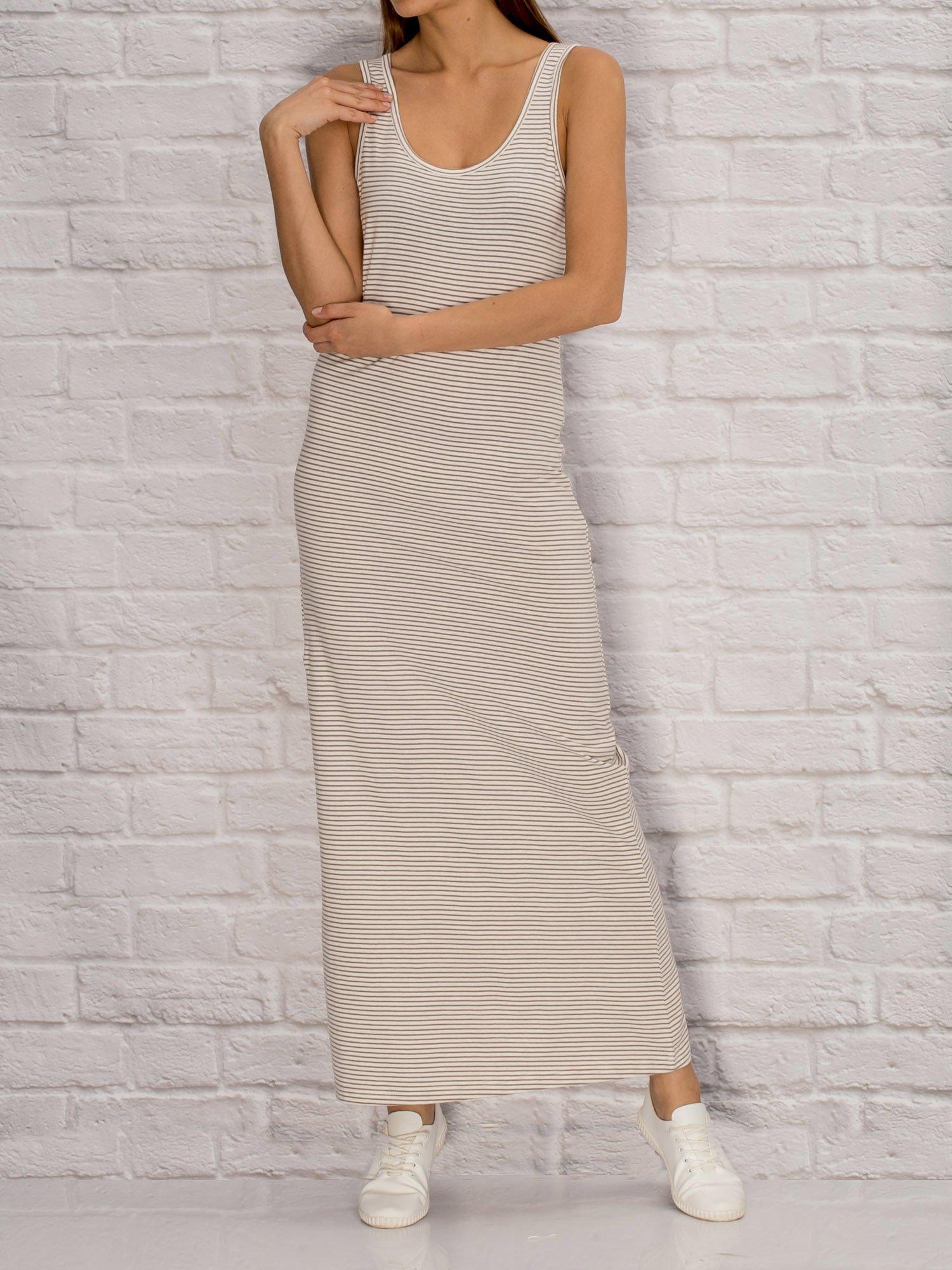 c2e37cb21d YUPS Ecru długa sukienka letnia w paski - Sukienka dzianinowa ...