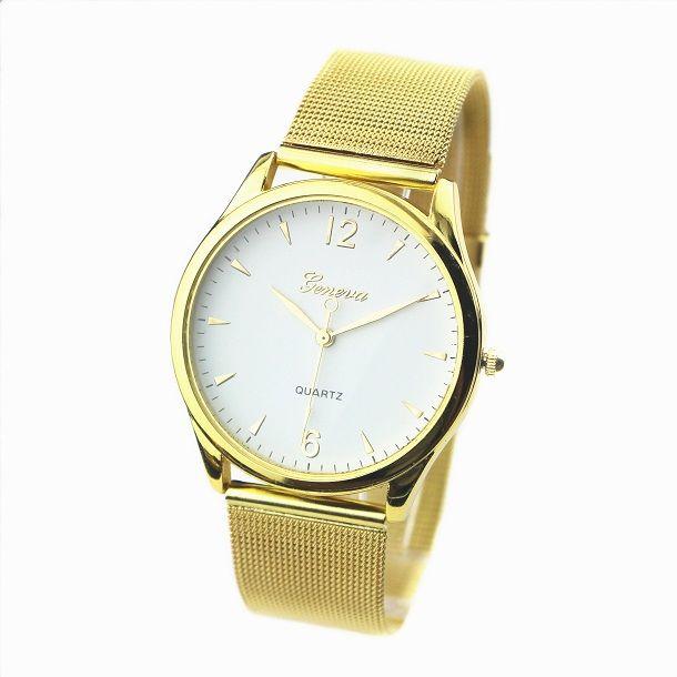 Chłodny Zegarek damski złoty klasyczny z bransoletą typu mesh - Akcesoria LQ18