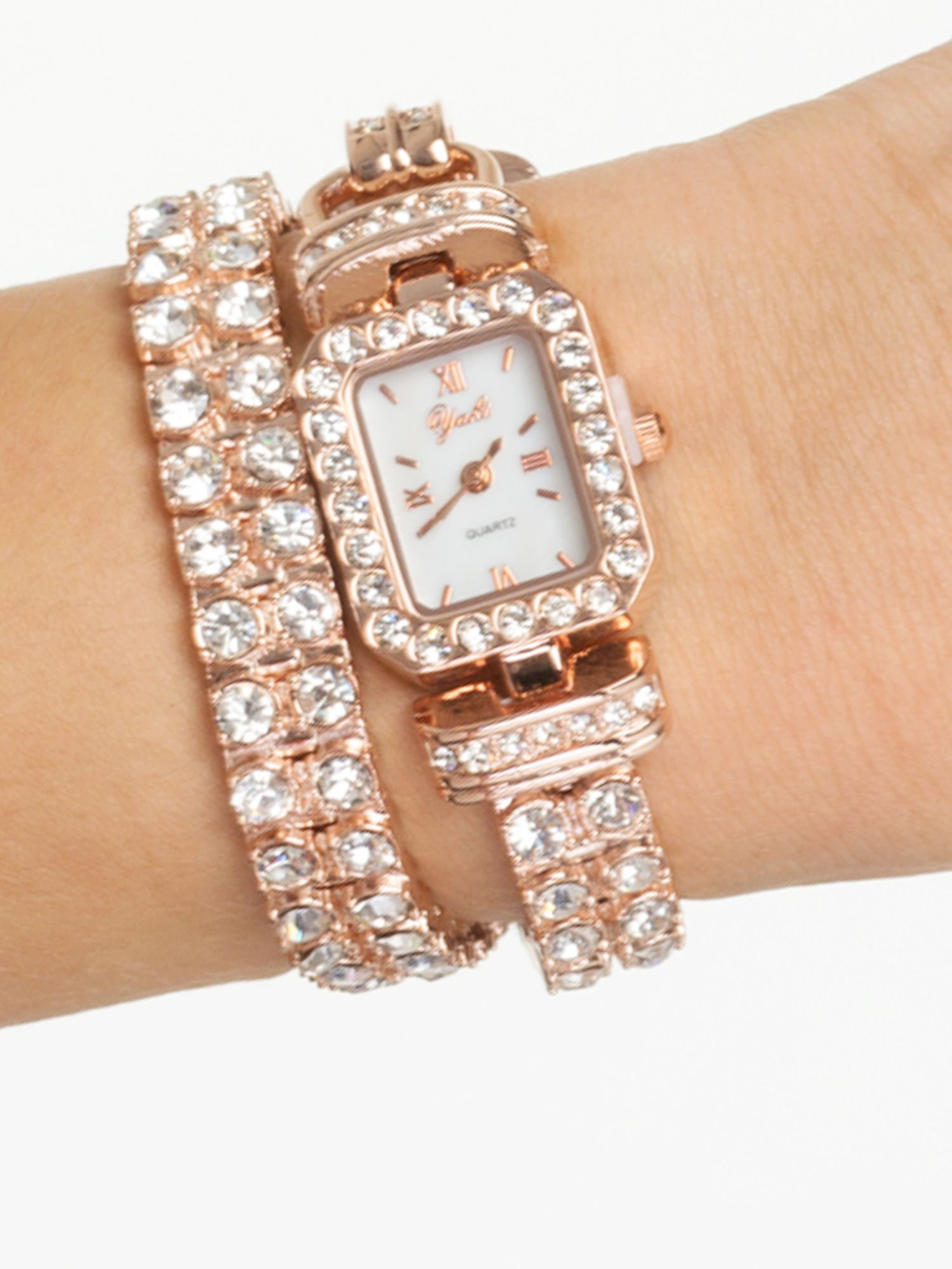 Zegarek damski na podwójnej bransolecie z cyrkoniami z różowego złota                                  zdj.                                  1