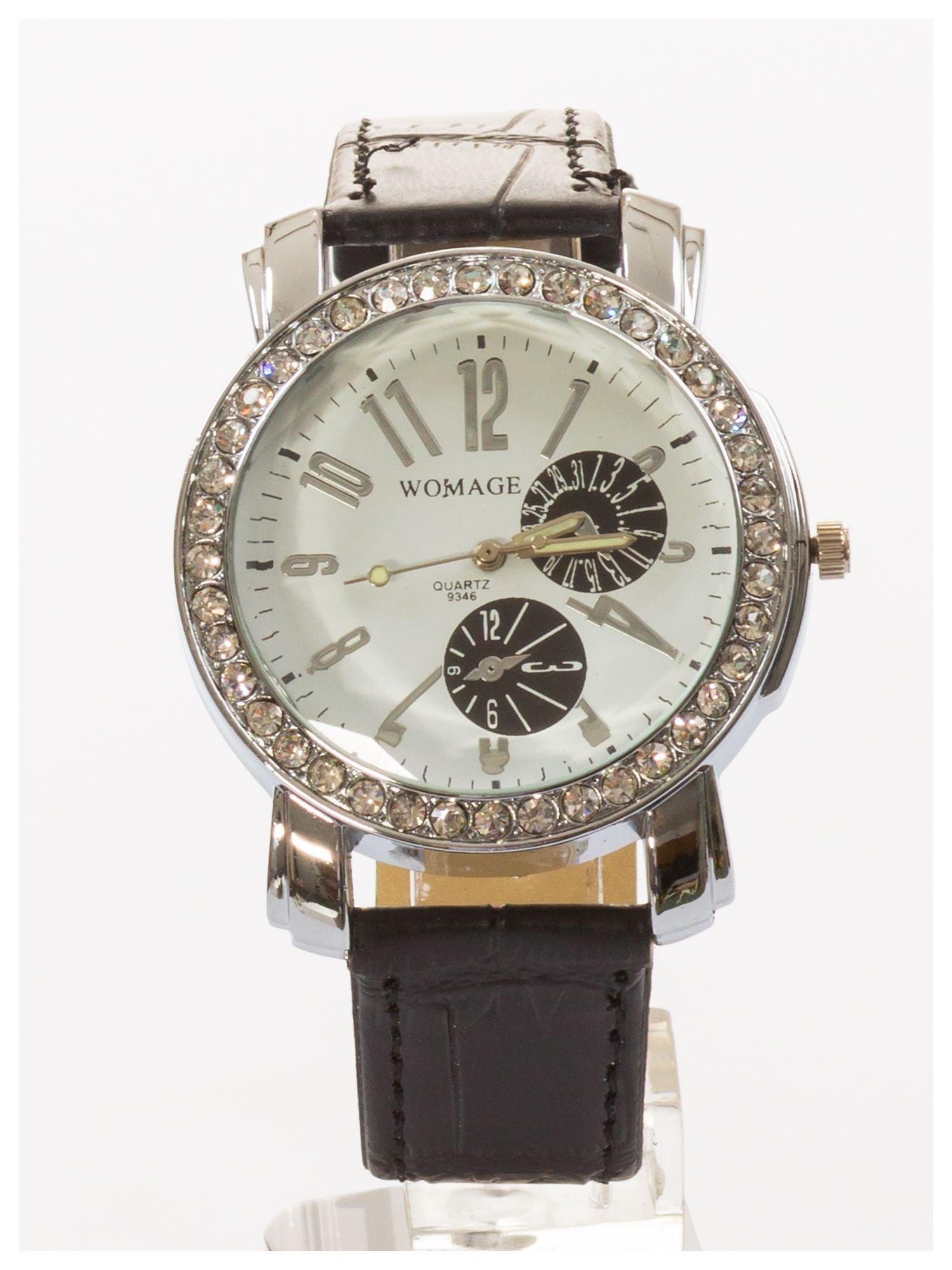 Zegarek damski na skórzanym pasku. Duży + cyrkonie                                  zdj.                                  1