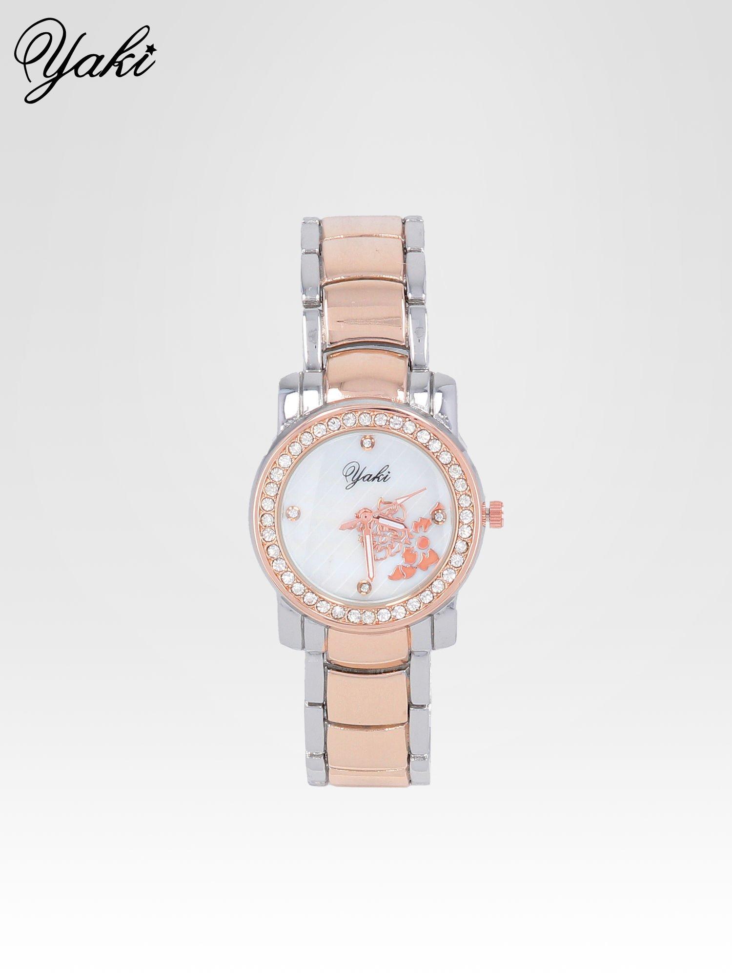 Zegarek damski z grawerem kwiatów z różowego złota                                  zdj.                                  1