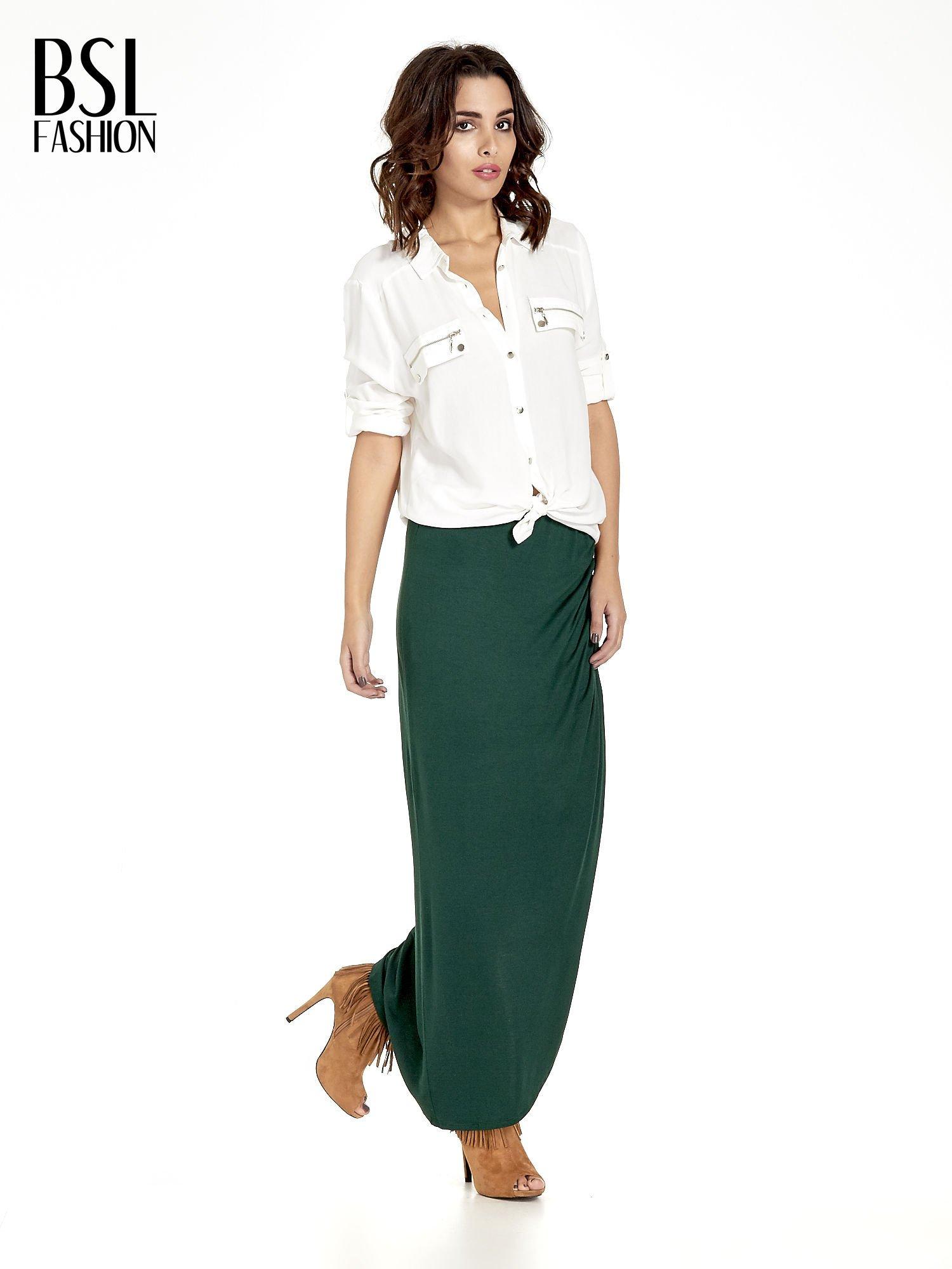 Zielona asymetryczna spódnica maxi z drapowaniem i rozporkiem z boku                                  zdj.                                  8