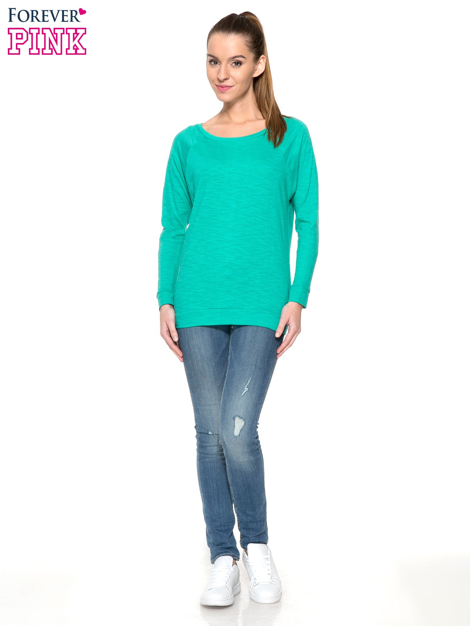 Zielona bawełniana bluzka z rękawami typu reglan                                  zdj.                                  2
