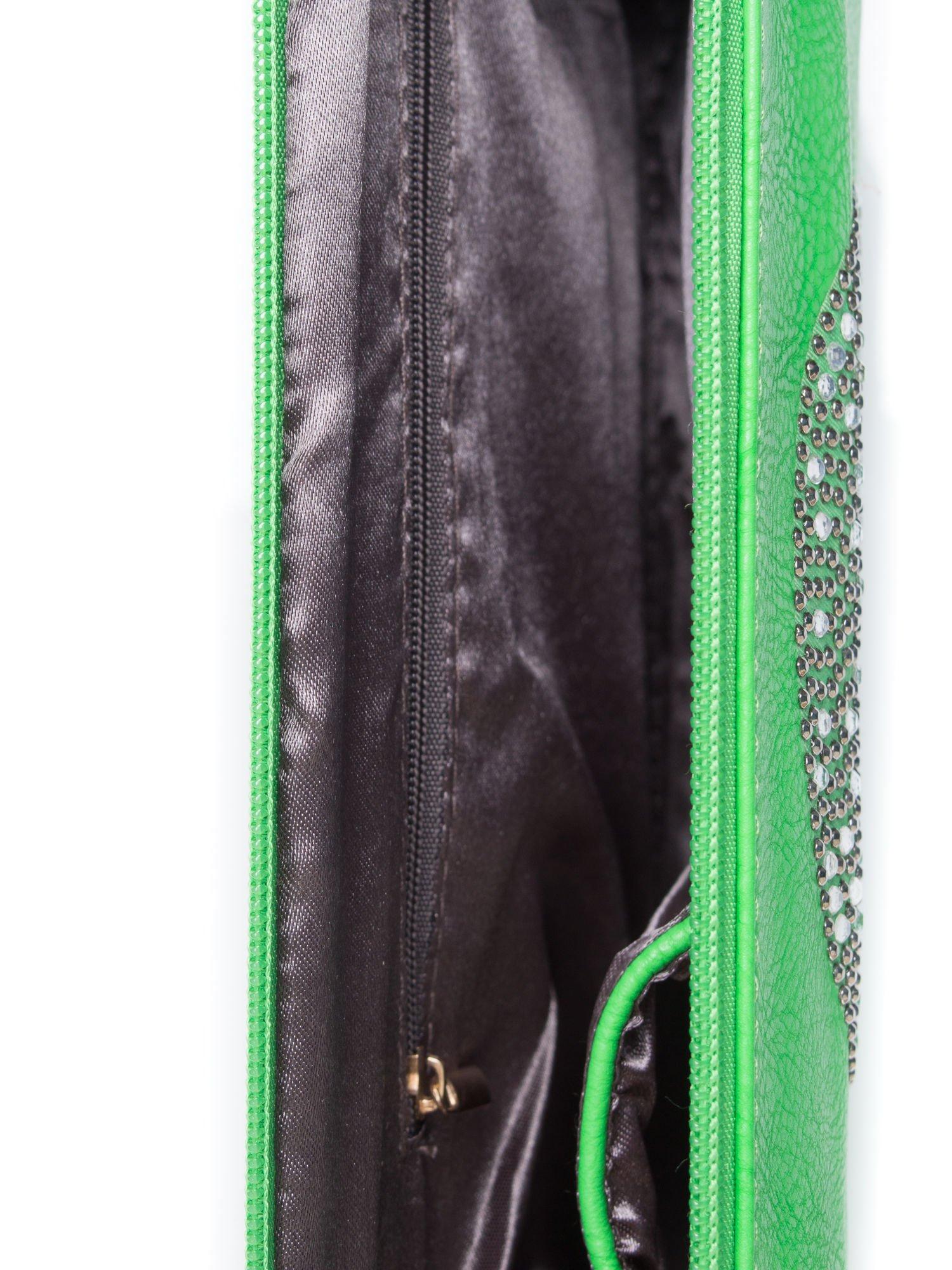Zielona kopertówka z dżetami motyw czaszki                                  zdj.                                  4