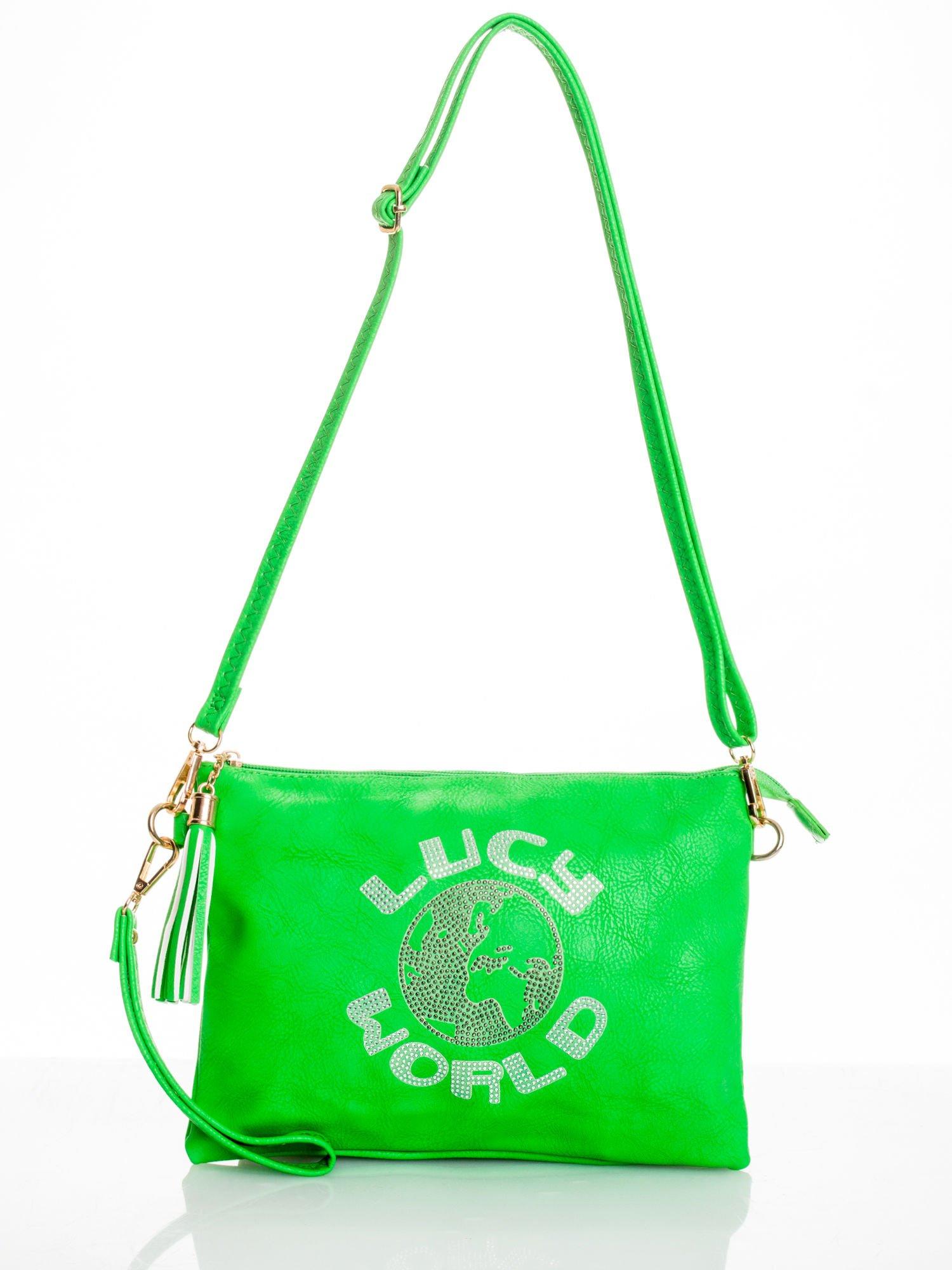 Zielona kopertówka z dżetami napis LUCY WORLD                                  zdj.                                  3