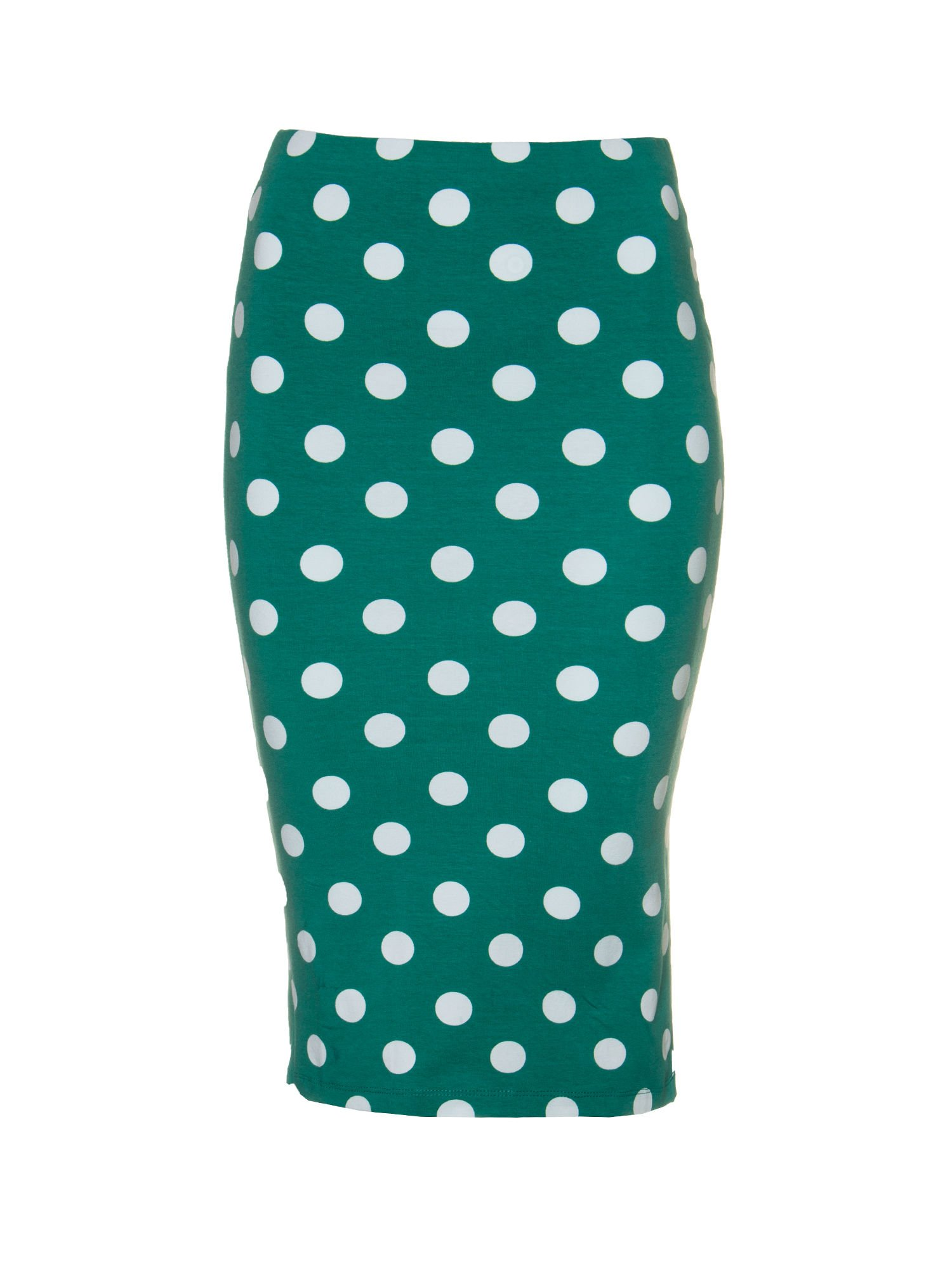 Zielona ołówkowa spódnica w groszki                                  zdj.                                  5
