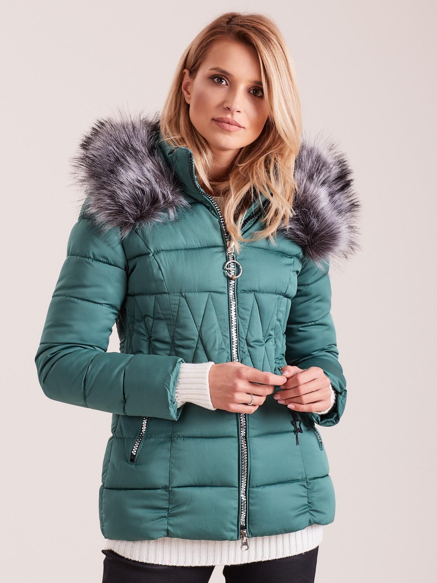 Zielona pikowana kurtka damska