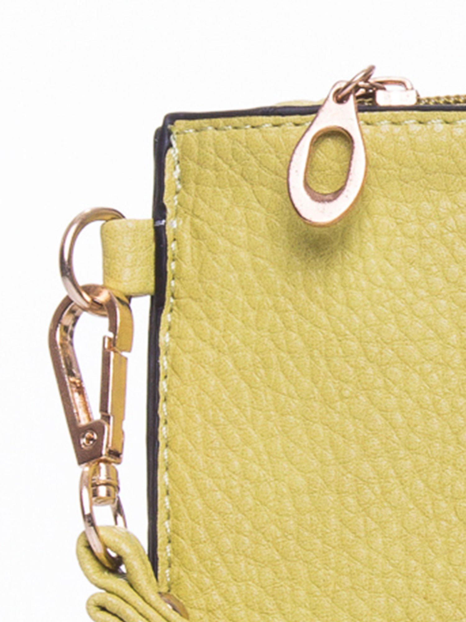 Zielona prosta przewieszana torebka z uchwytem                                  zdj.                                  7