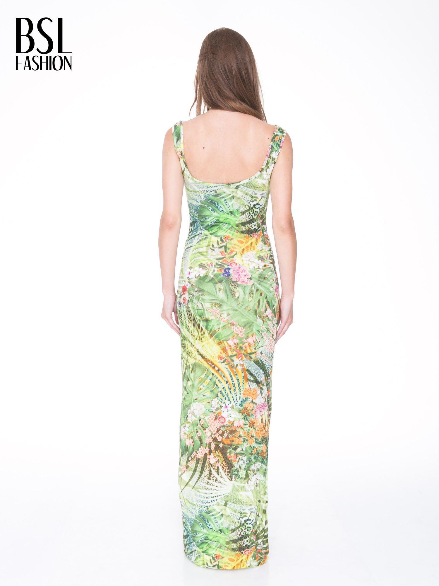 Zielona sukienka maxi w egzotyczny nadruk palm                                  zdj.                                  2