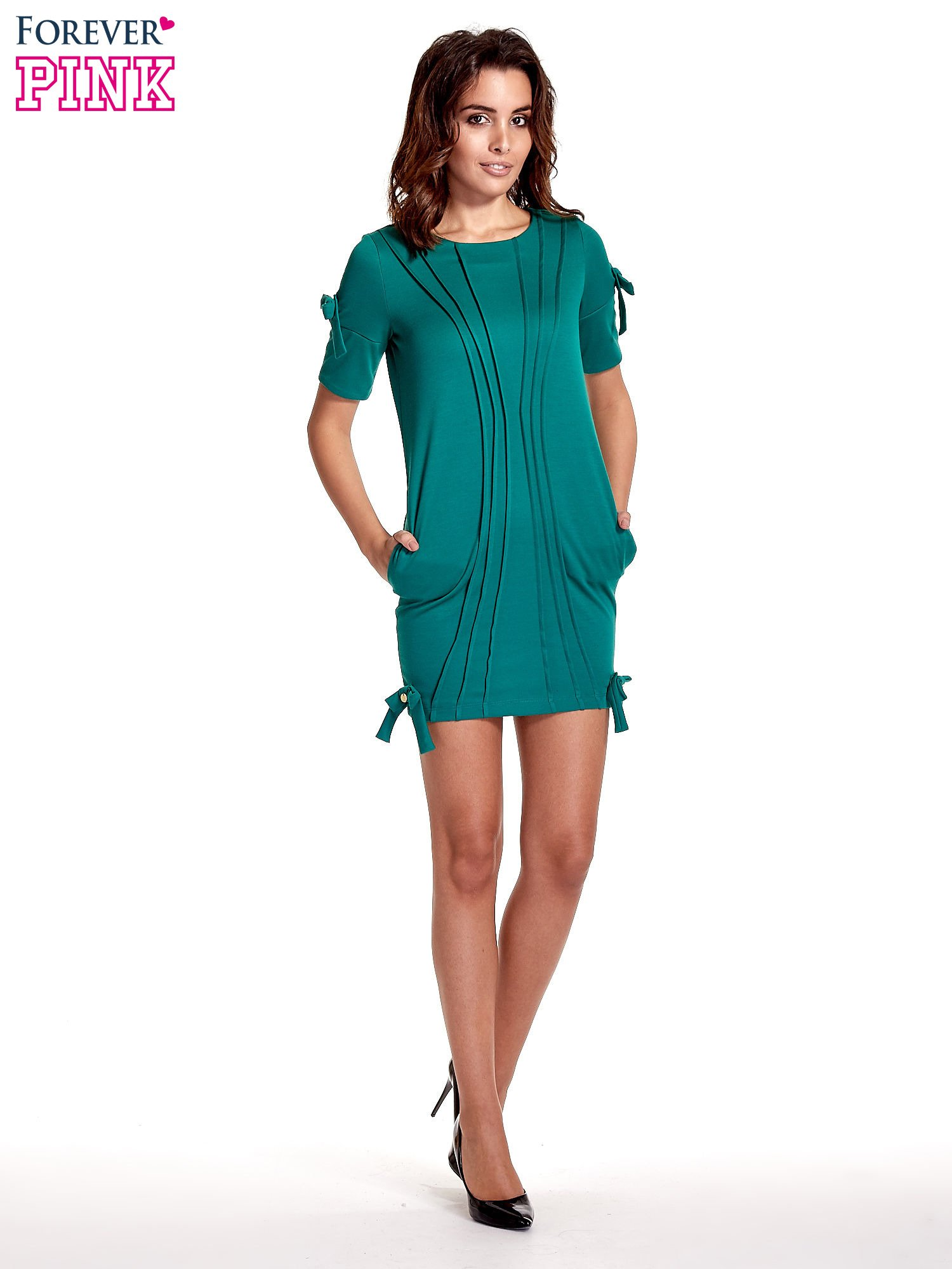 Zielona sukienka z kokardkami                                  zdj.                                  4