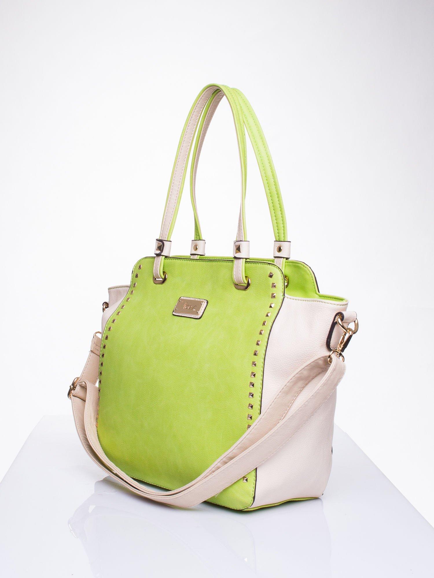 Zielona torba shopper bag z ozdobnymi ćwiekami                                  zdj.                                  2