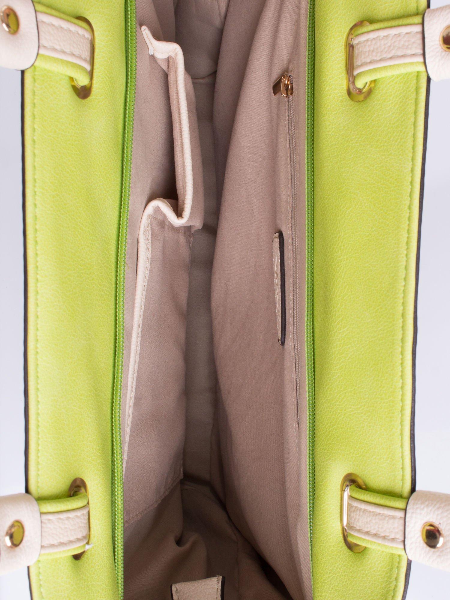 Zielona torba shopper bag z ozdobnymi ćwiekami                                  zdj.                                  3