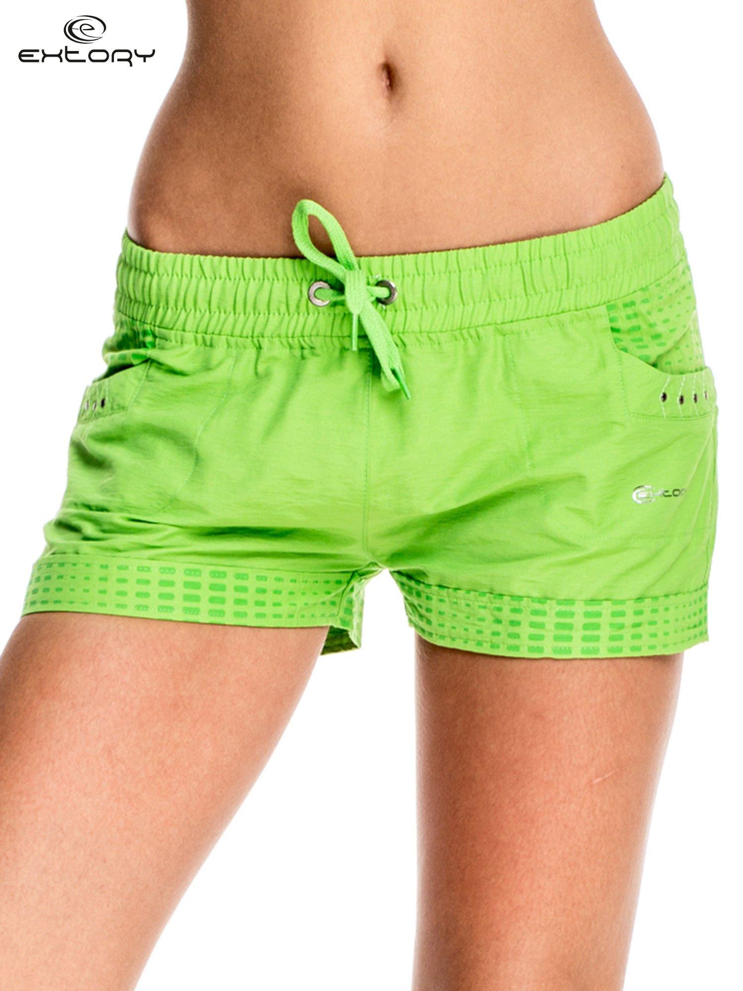 Zielone damskie szorty sportowe wiązane w pasie                                  zdj.                                  1