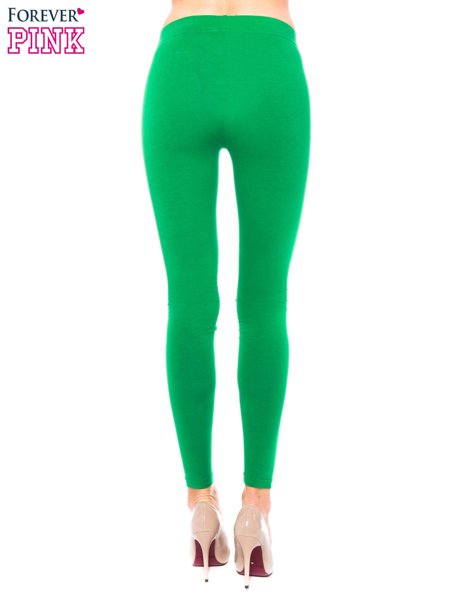 Zielone legginsy z bawełny                                  zdj.                                  3