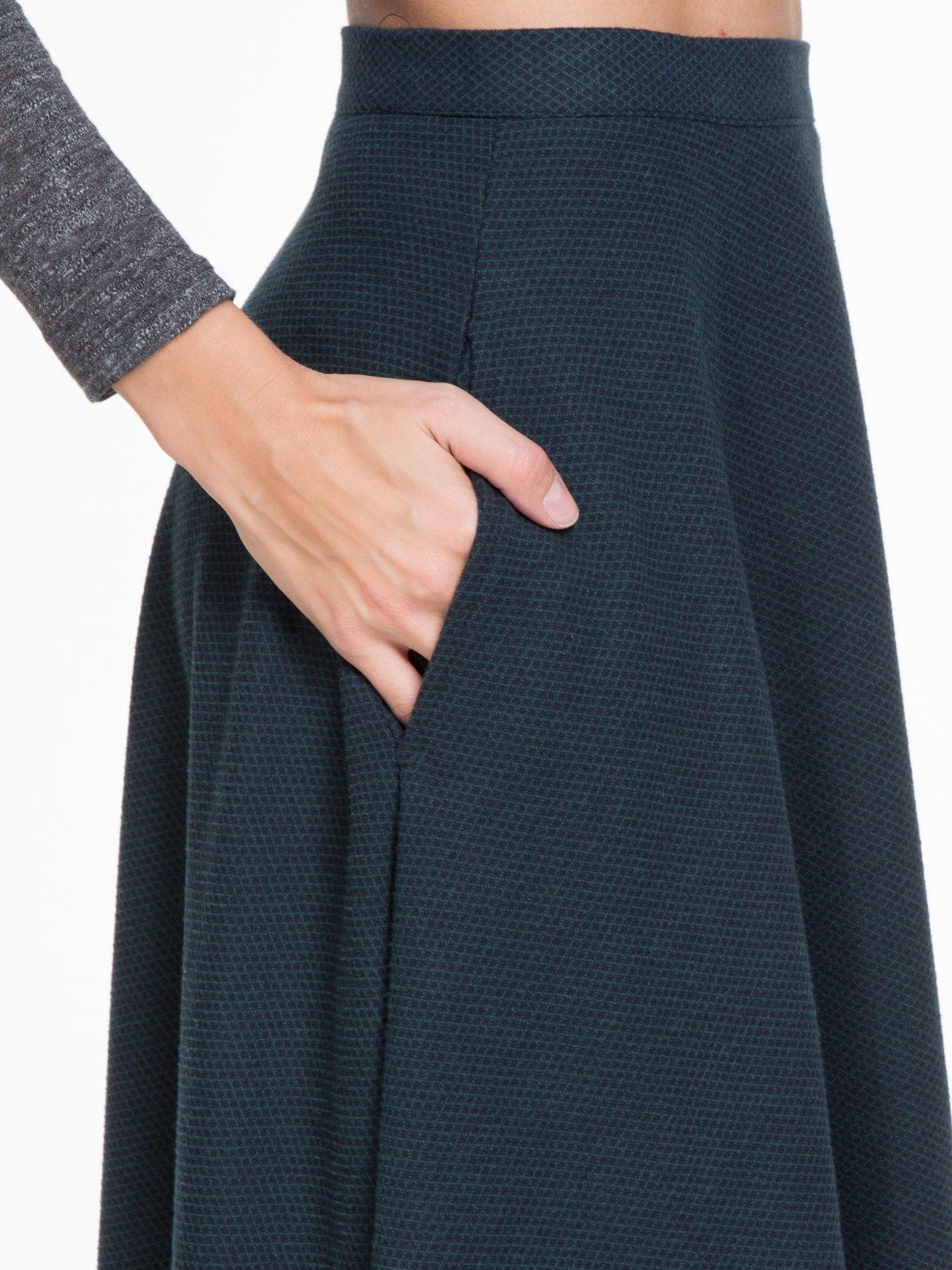 Zielono-granatowa kraciasta spódnica midi szyta z półkola                                  zdj.                                  7
