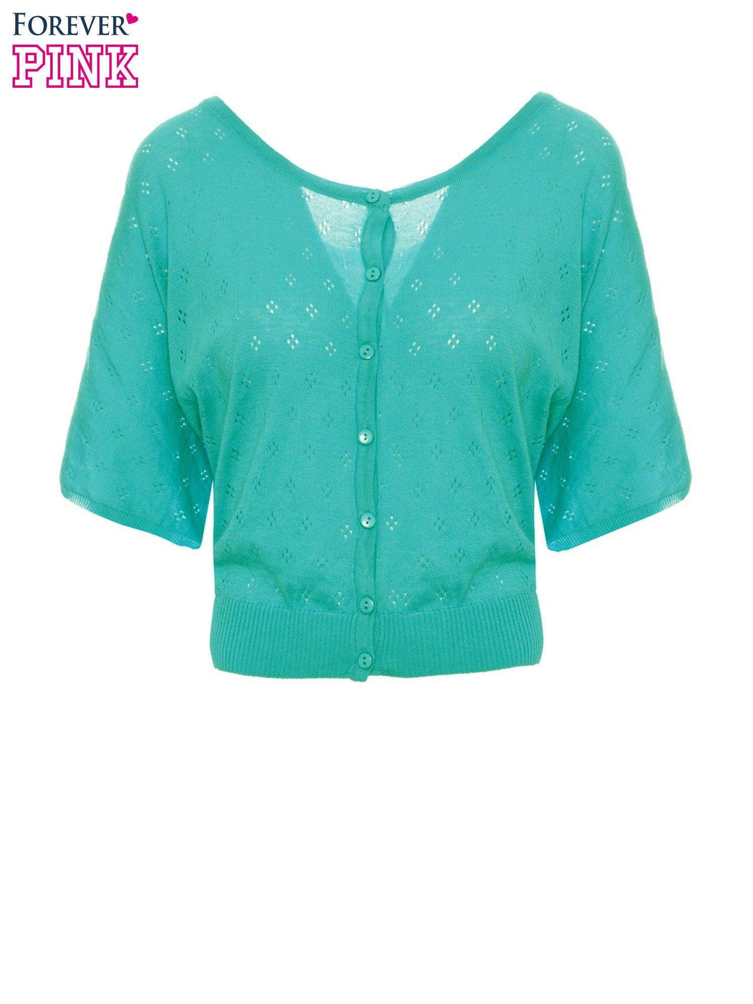 Zielony ażurowy sweterek z krótkim rękawem                                  zdj.                                  2