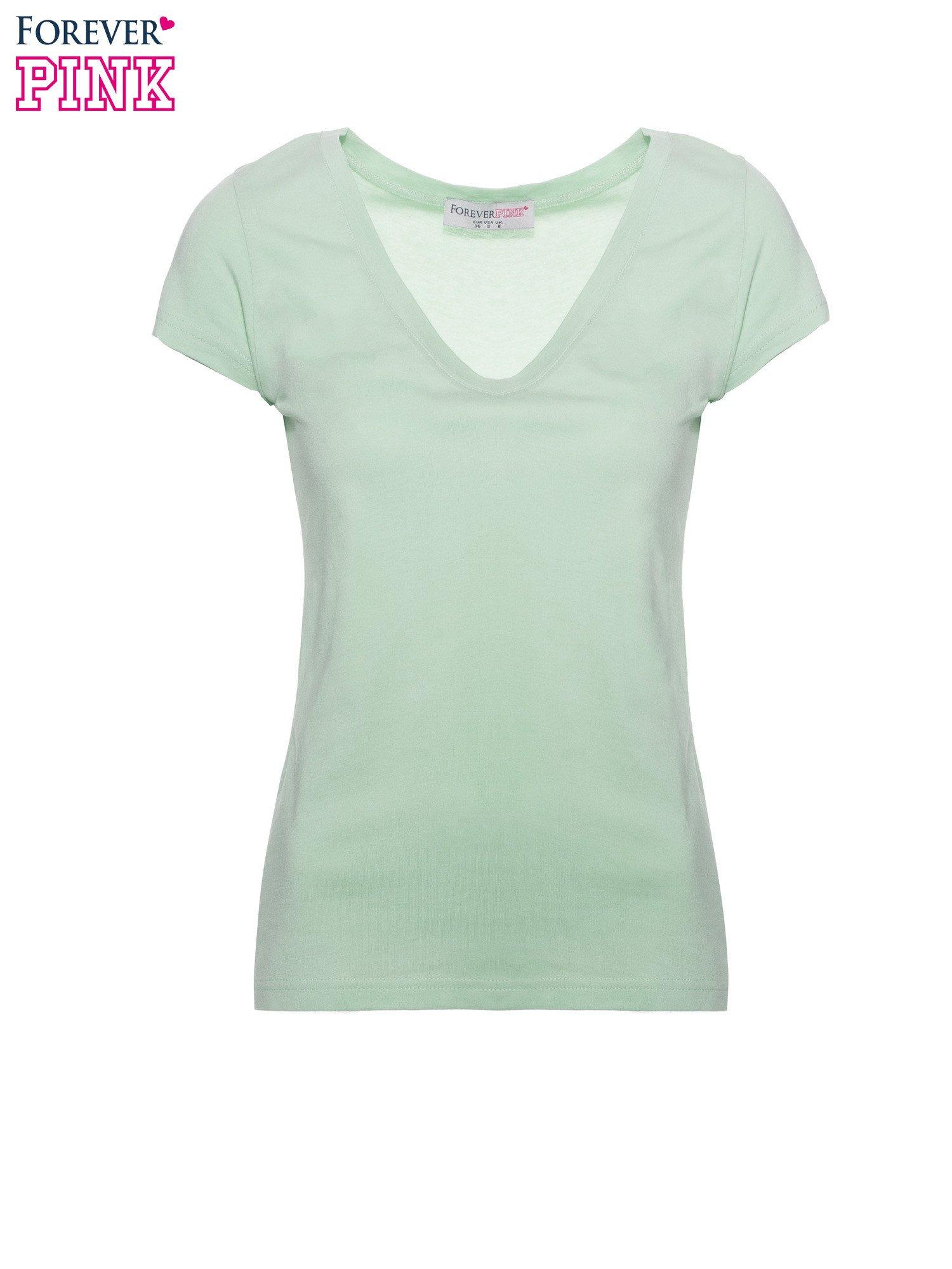 Zielony basicowy t-shirt z dekoltem w serek                                  zdj.                                  2