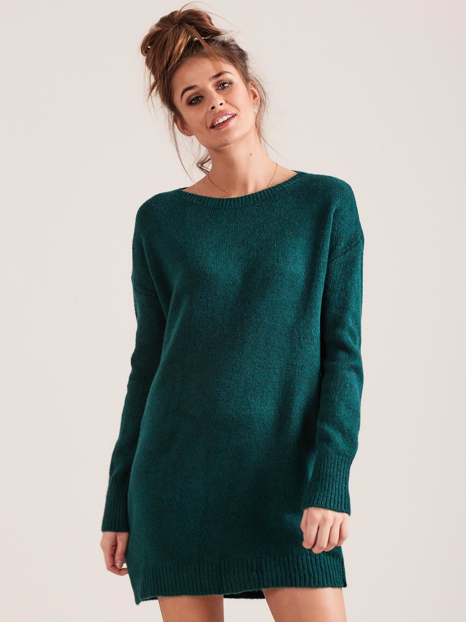 8168f831 Zielony długi dzianinowy sweter