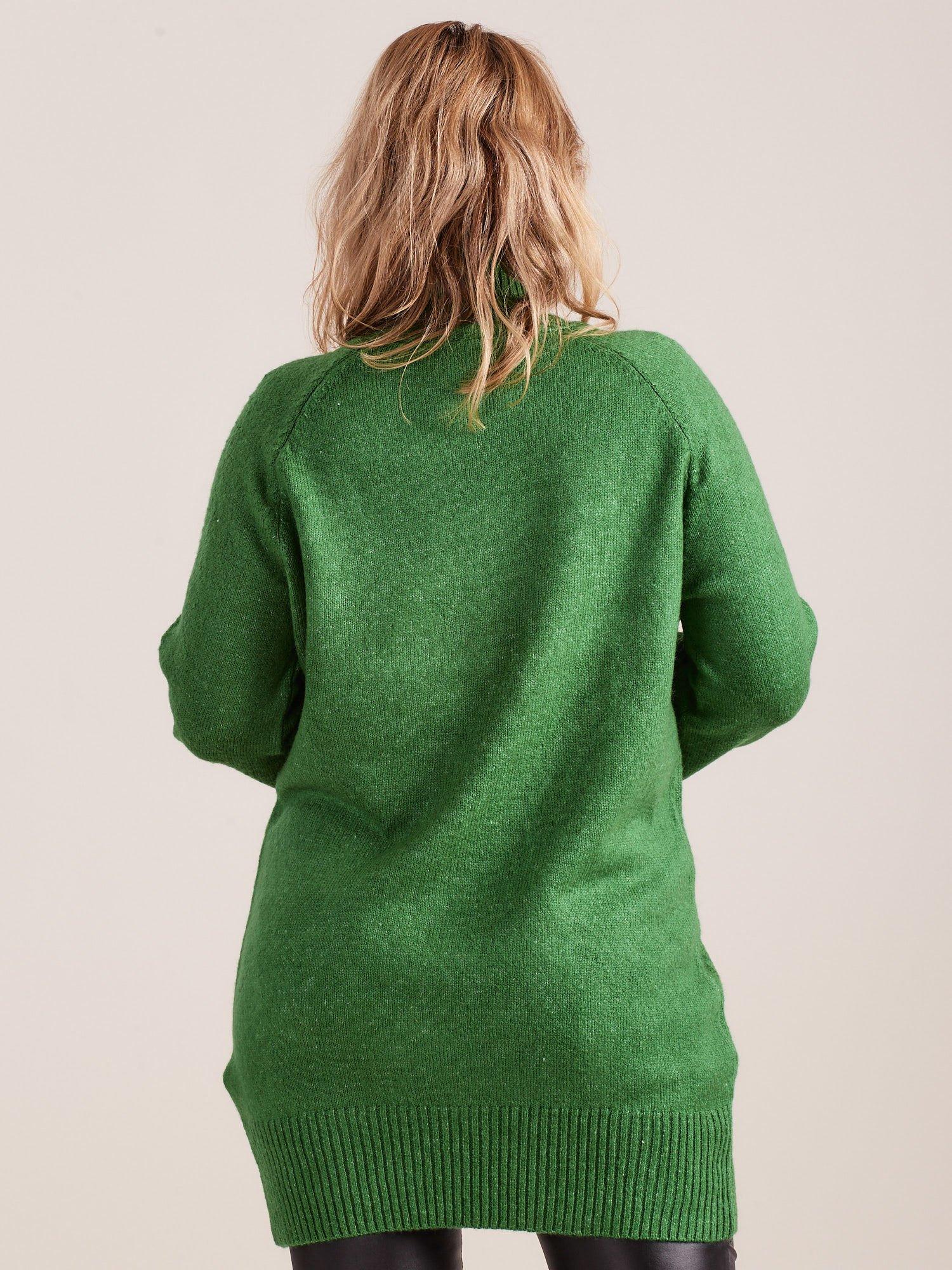 0ff13b05 Zielony długi sweter z golfem PLUS SIZE