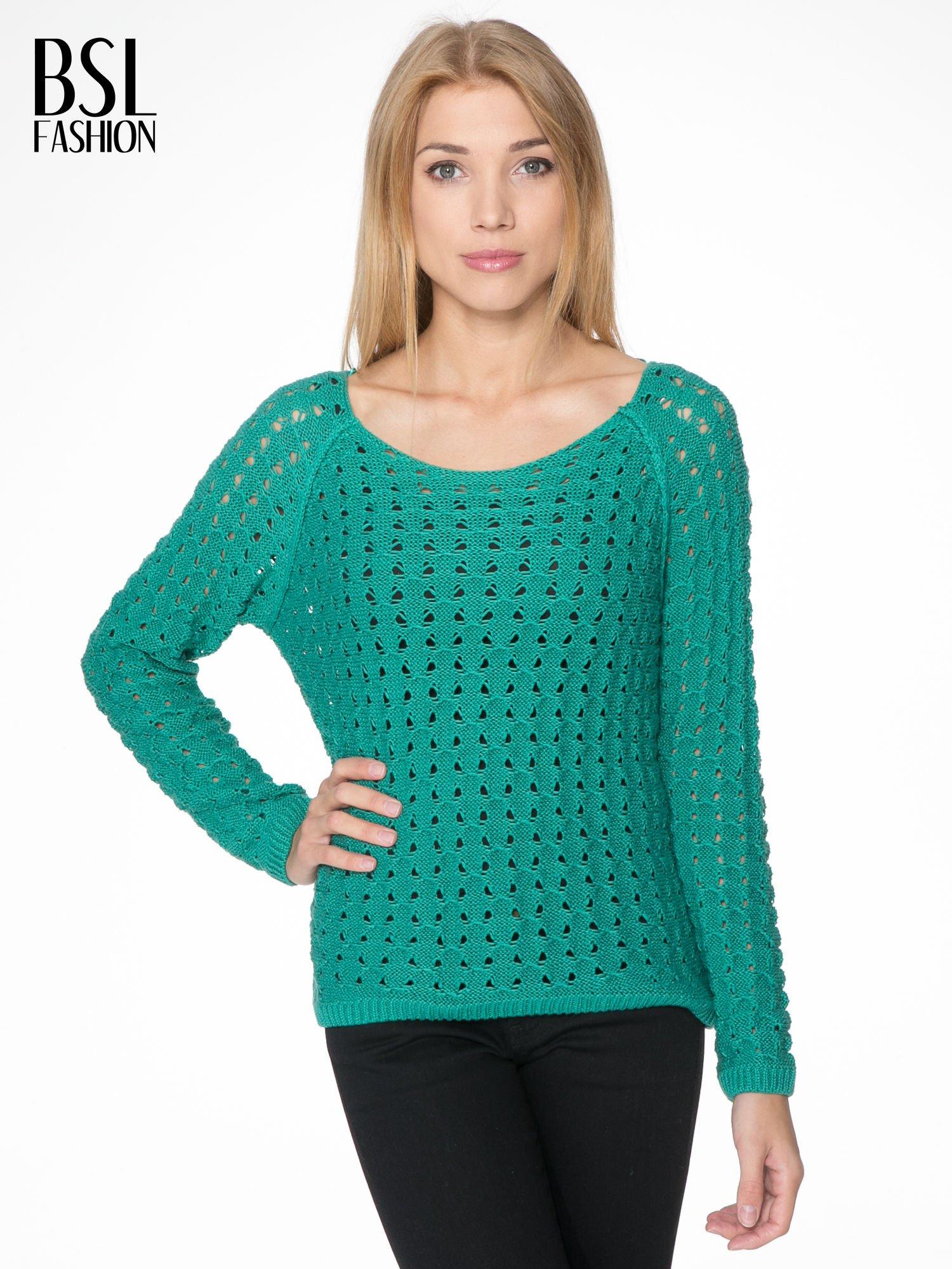 Zielony dziergany sweter z ozdobnymi oczkami                                  zdj.                                  1